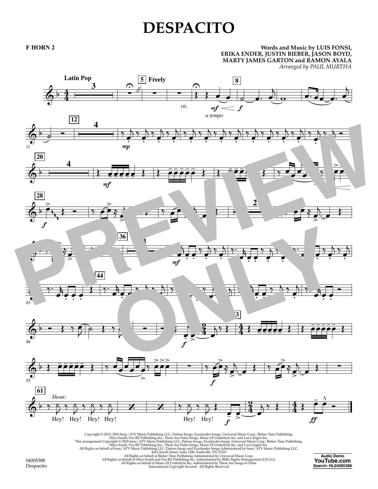 Despacito (arr. Paul Murtha) - F Horn 2 (Concert Band)