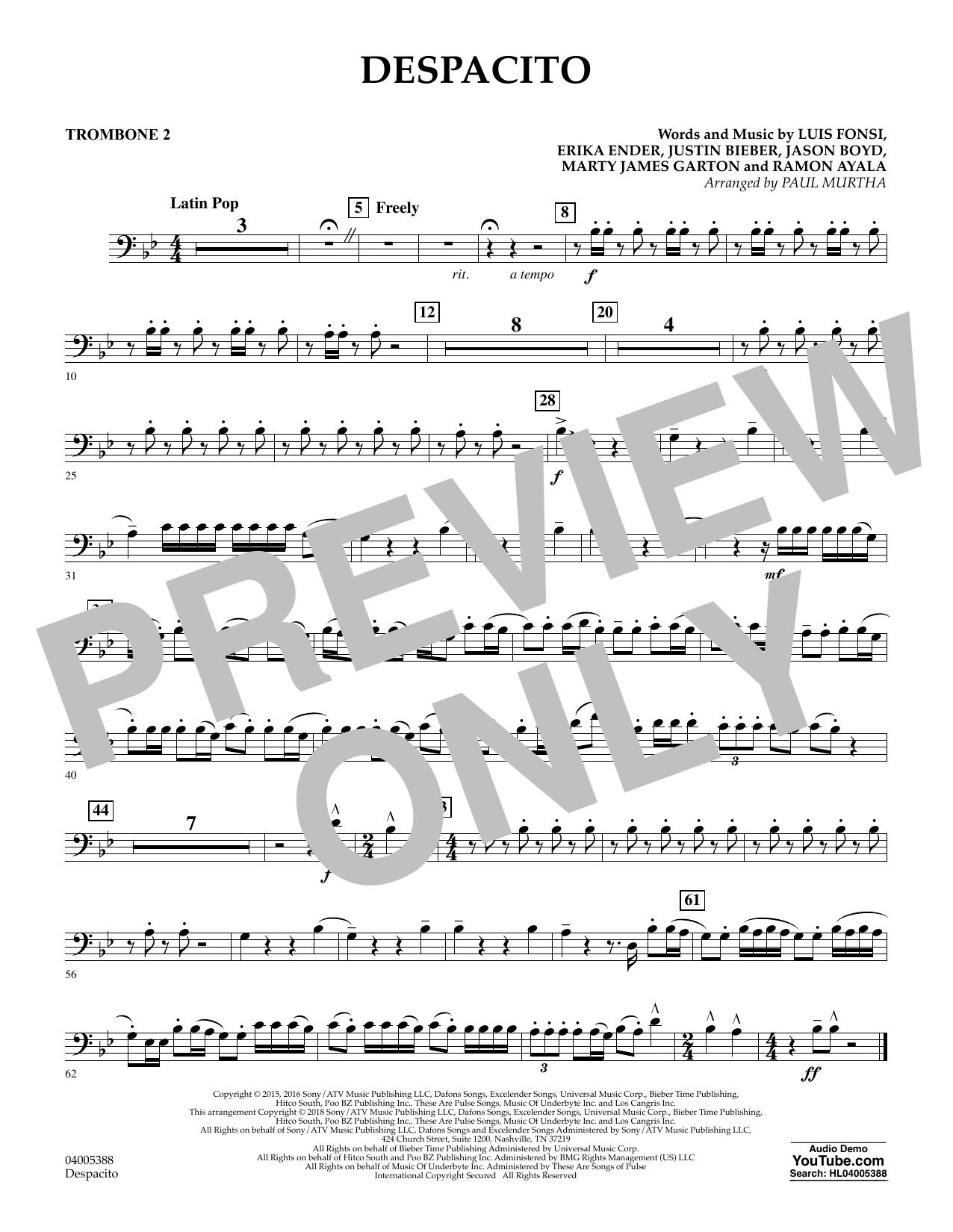 Despacito (arr. Paul Murtha) - Trombone 2 (Concert Band)