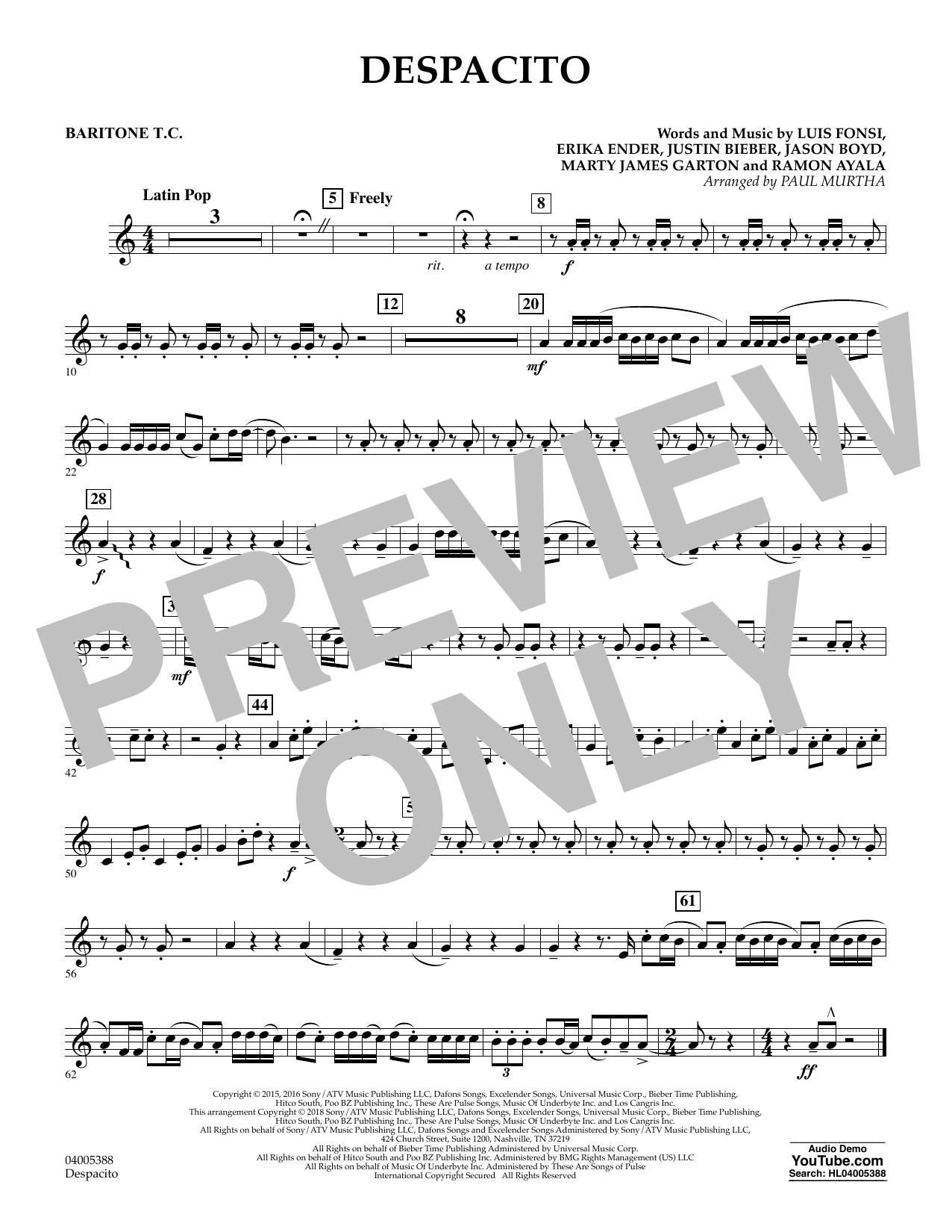 Despacito (arr. Paul Murtha) - Baritone T.C. (Concert Band)