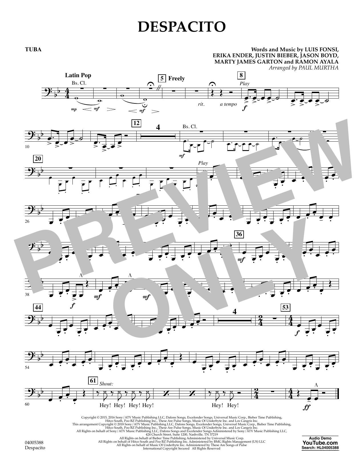 Despacito (arr. Paul Murtha) - Tuba (Concert Band)