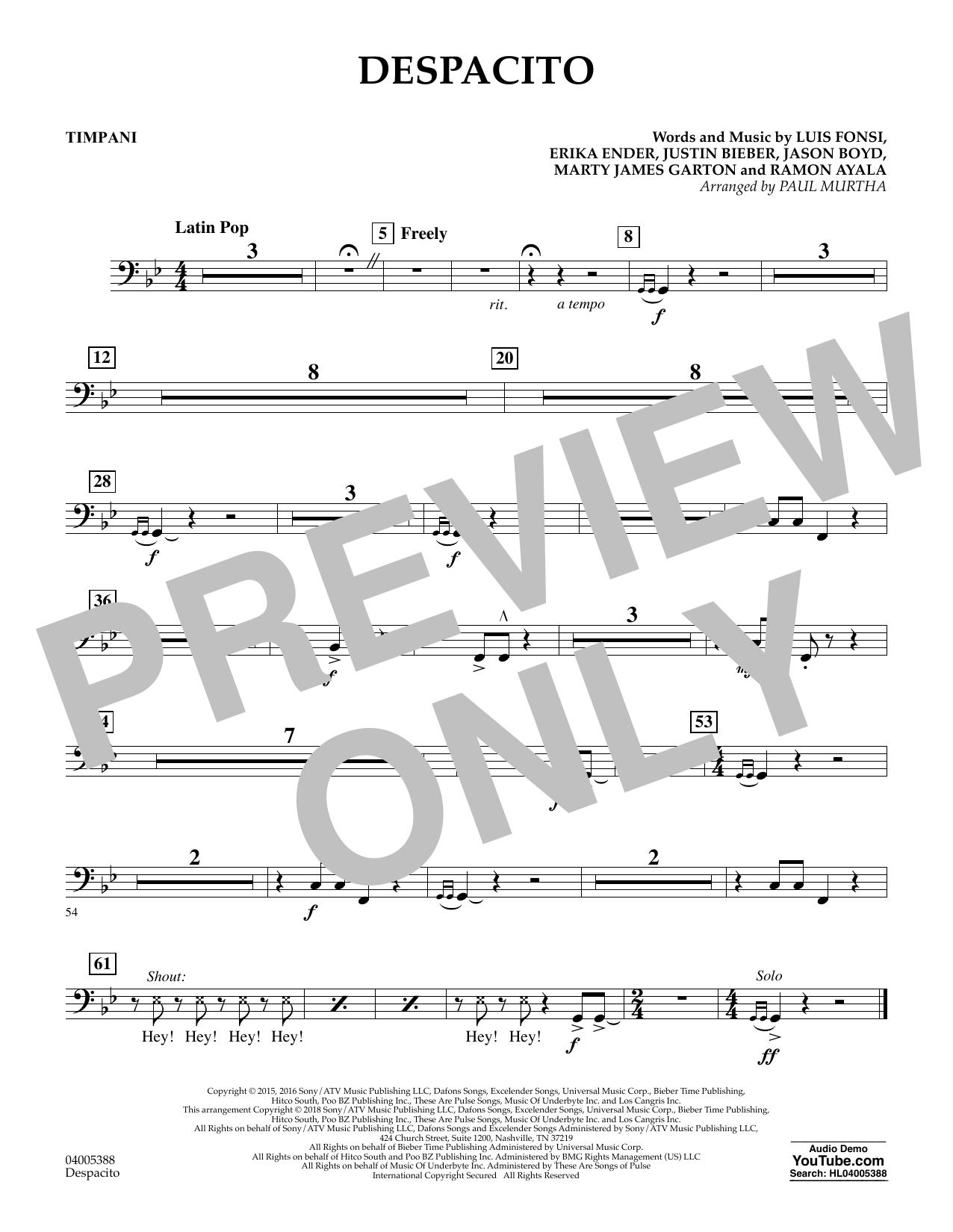 Despacito (arr. Paul Murtha) - Timpani (Concert Band)