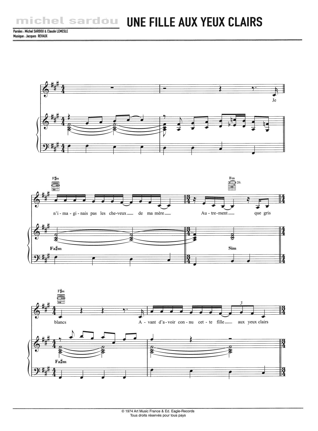 Une Fille Aux Yeux Clairs Sheet Music