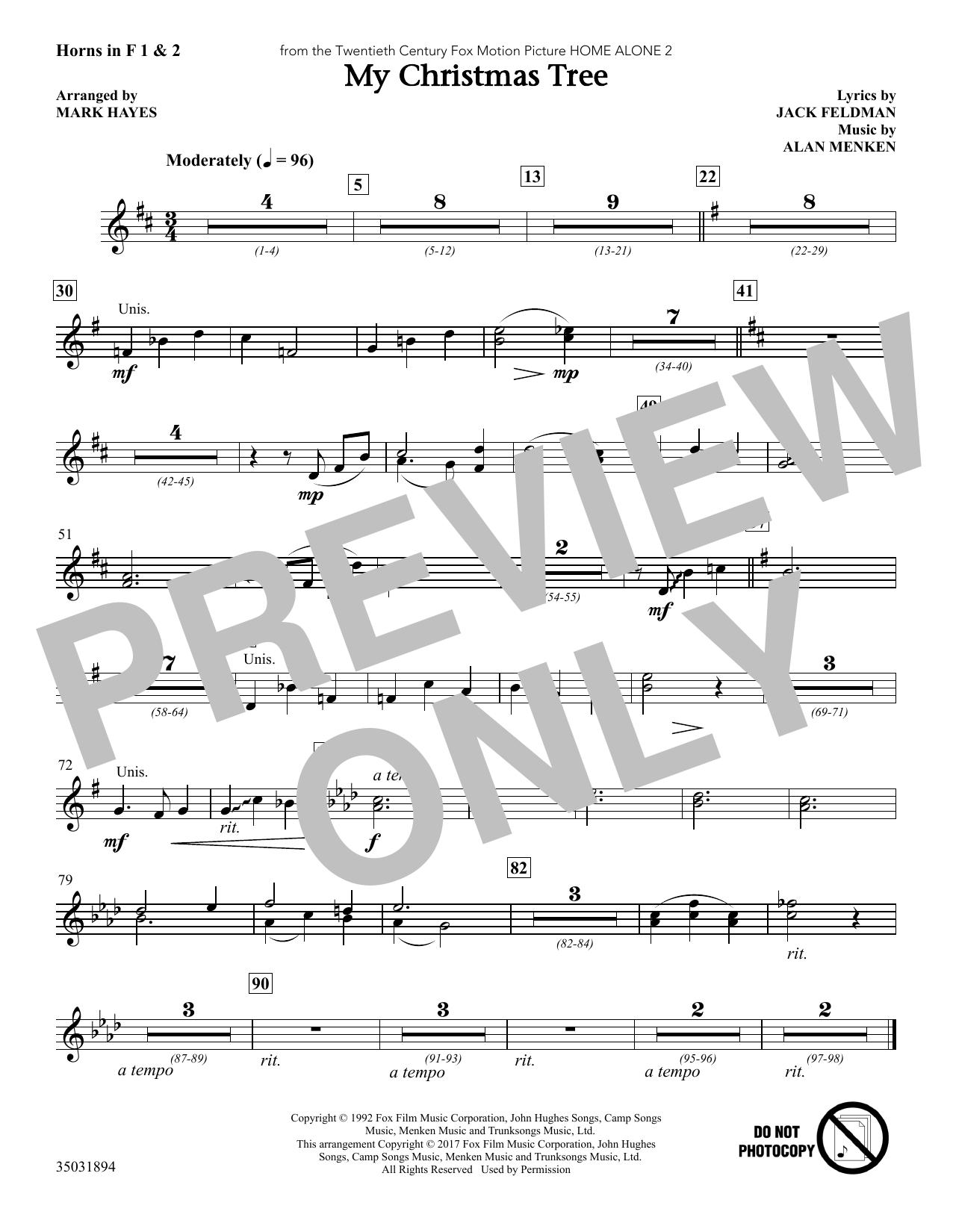 My Christmas Tree - F Horn 1,2 (Choir Instrumental Pak)