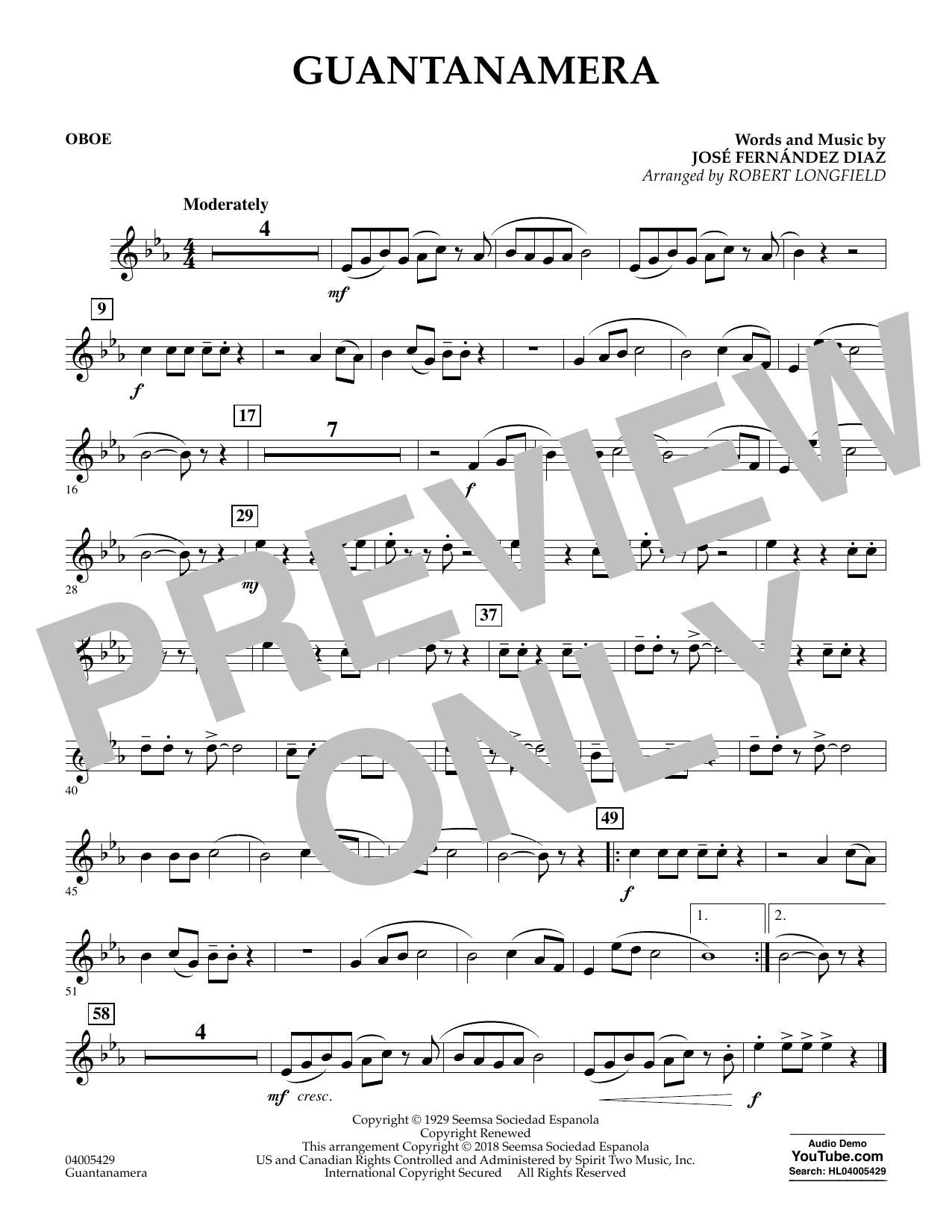 Partition autre Guantanamera - Oboe de Robert Longfield - Orchestre d'harmonie