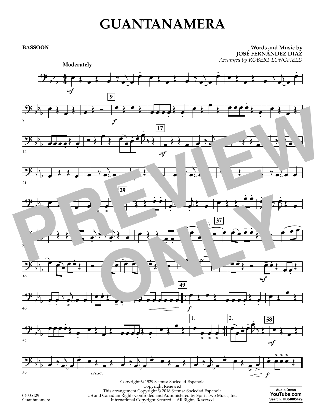 Guantanamera - Bassoon (Concert Band)