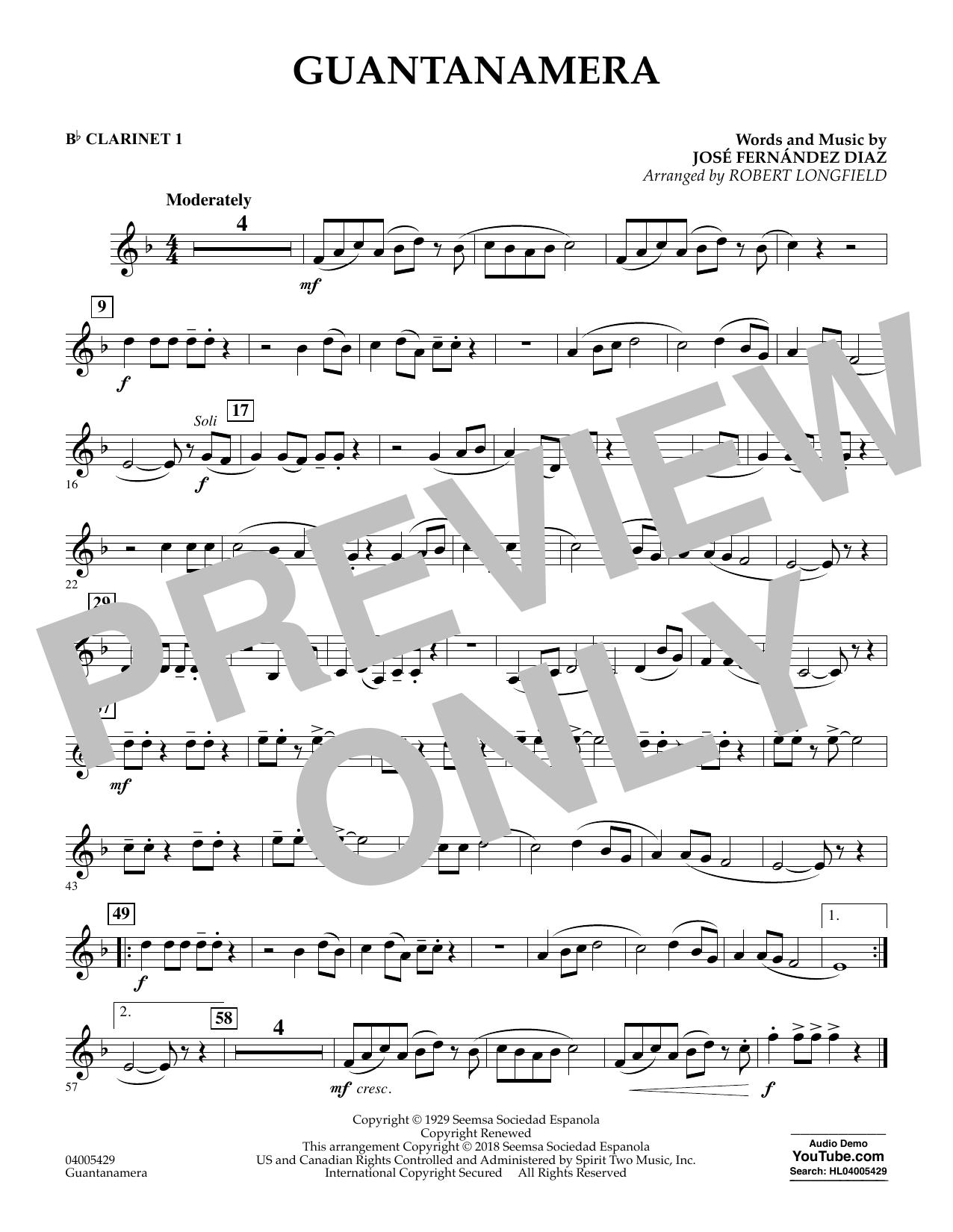 Guantanamera - Bb Clarinet 1 (Concert Band)