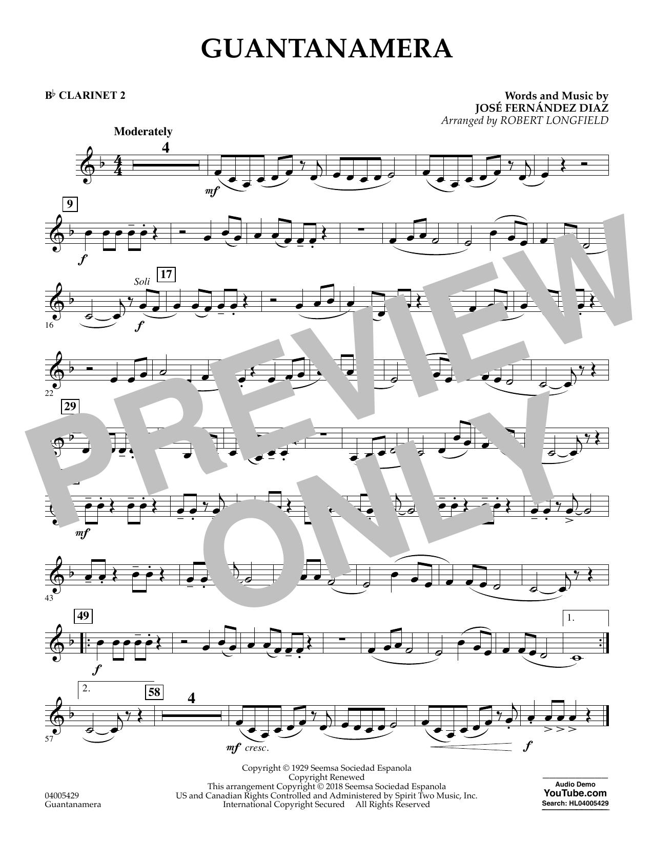 Guantanamera - Bb Clarinet 2 (Concert Band)