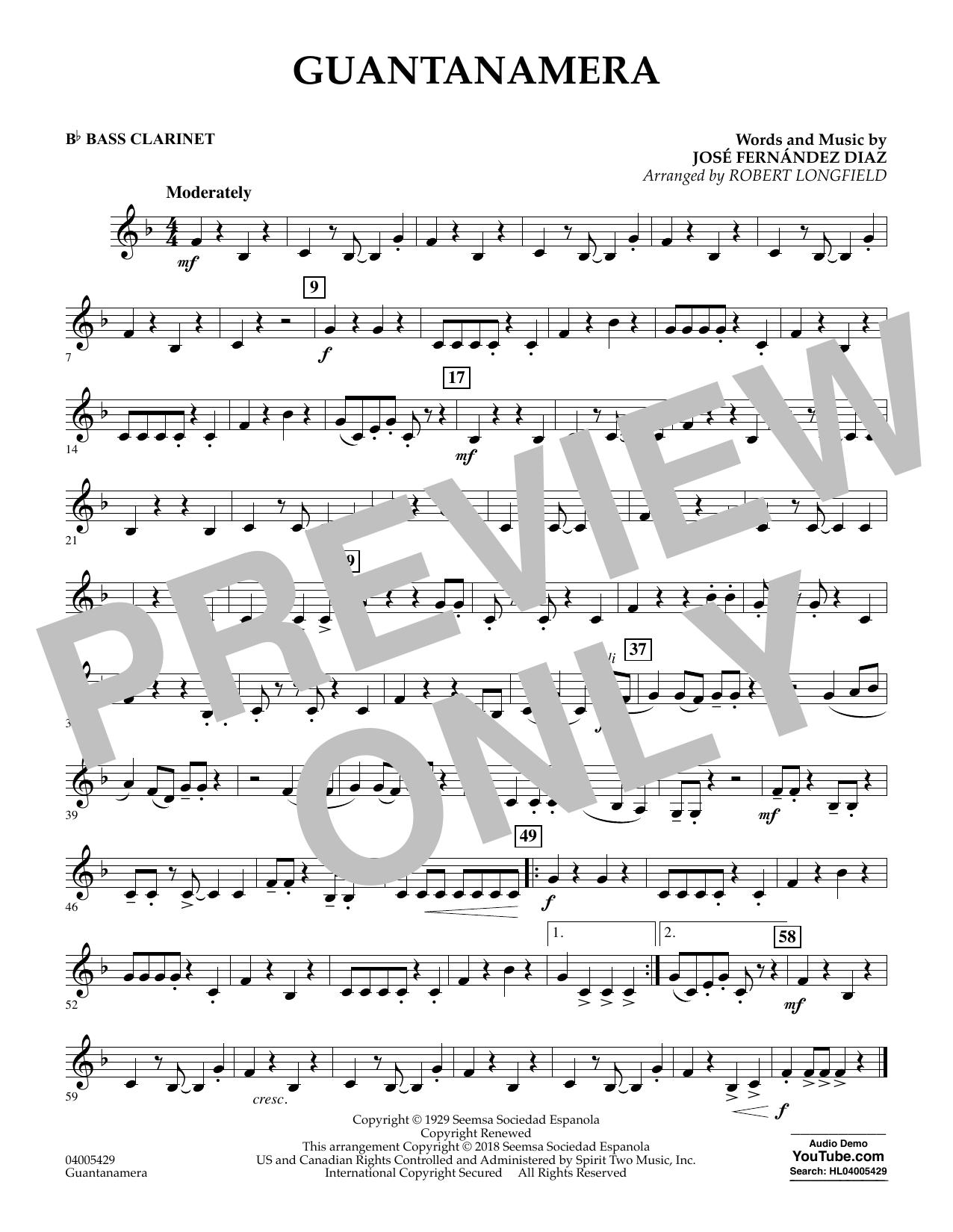 Guantanamera - Bb Bass Clarinet (Concert Band)