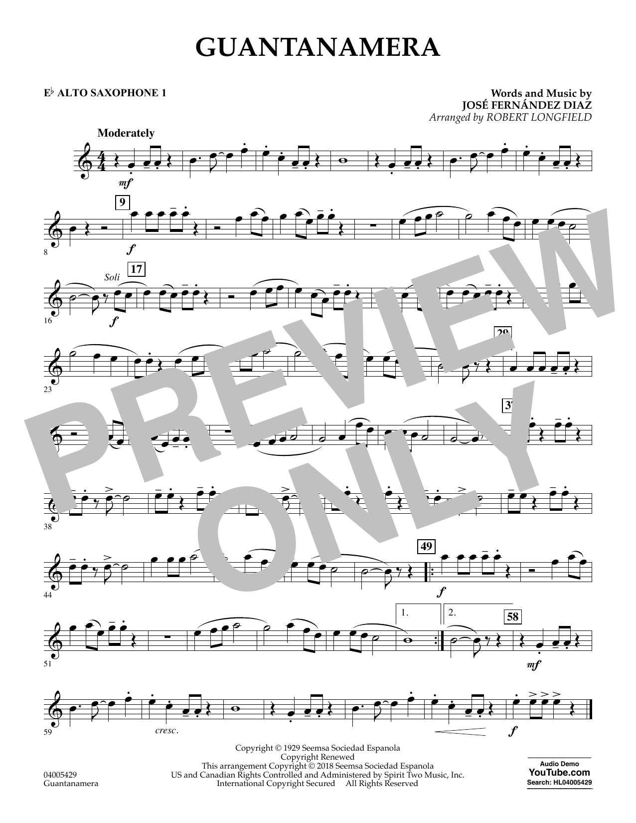 Guantanamera - Eb Alto Saxophone 1 (Concert Band)