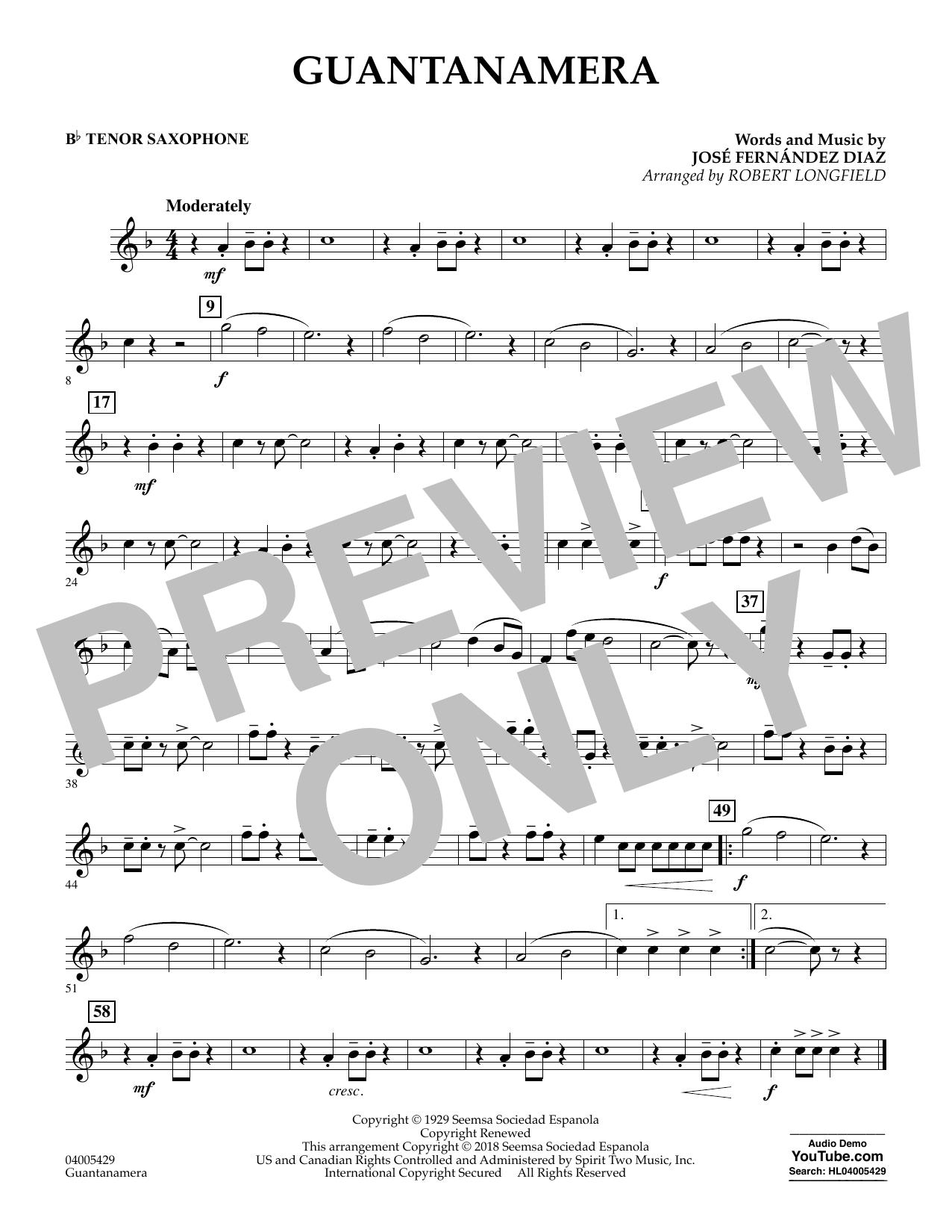 Guantanamera - Bb Tenor Saxophone (Concert Band)