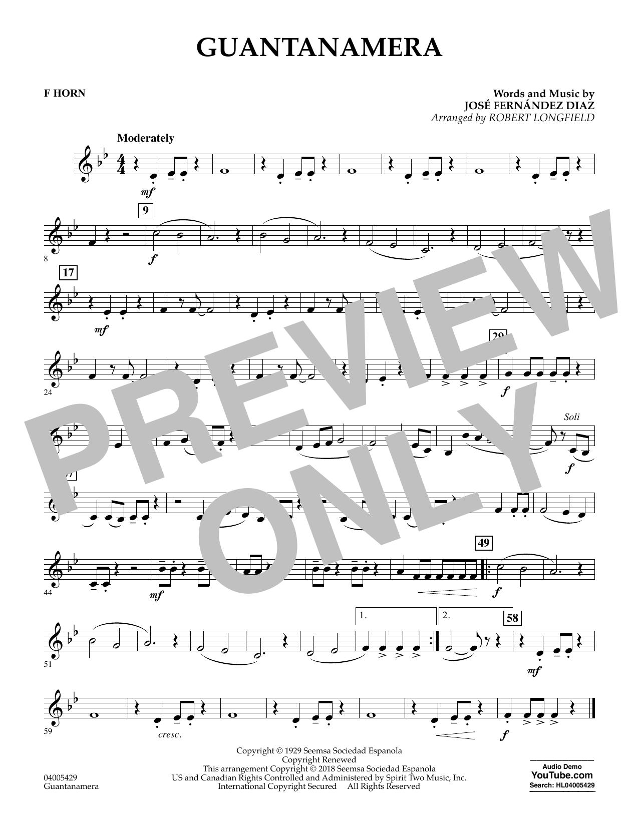 Guantanamera - F Horn (Concert Band)