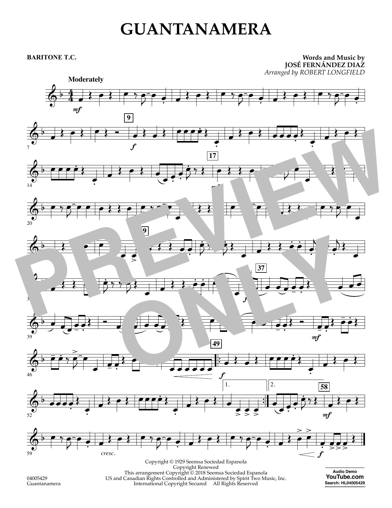 Guantanamera - Baritone T.C. (Concert Band)