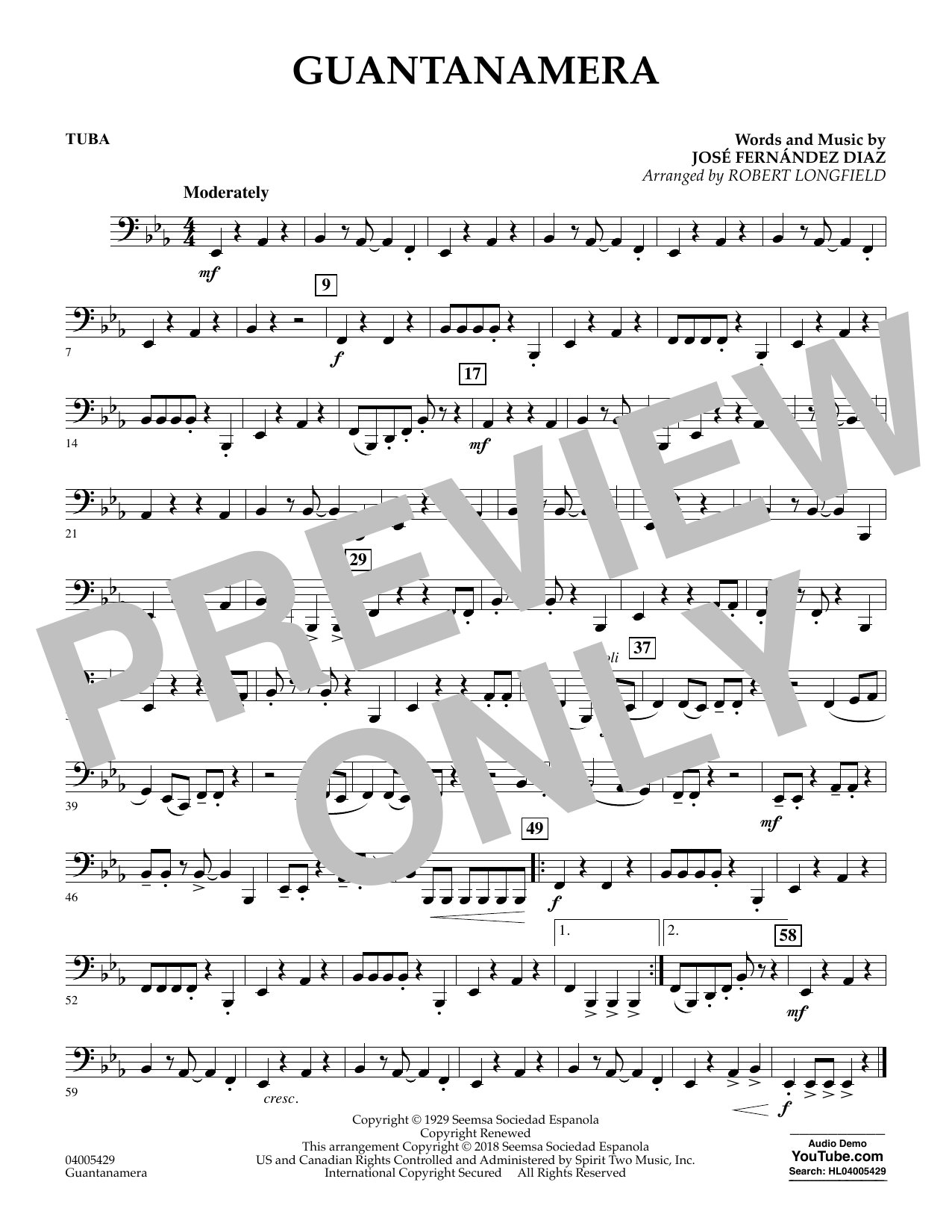 Guantanamera - Tuba (Concert Band)