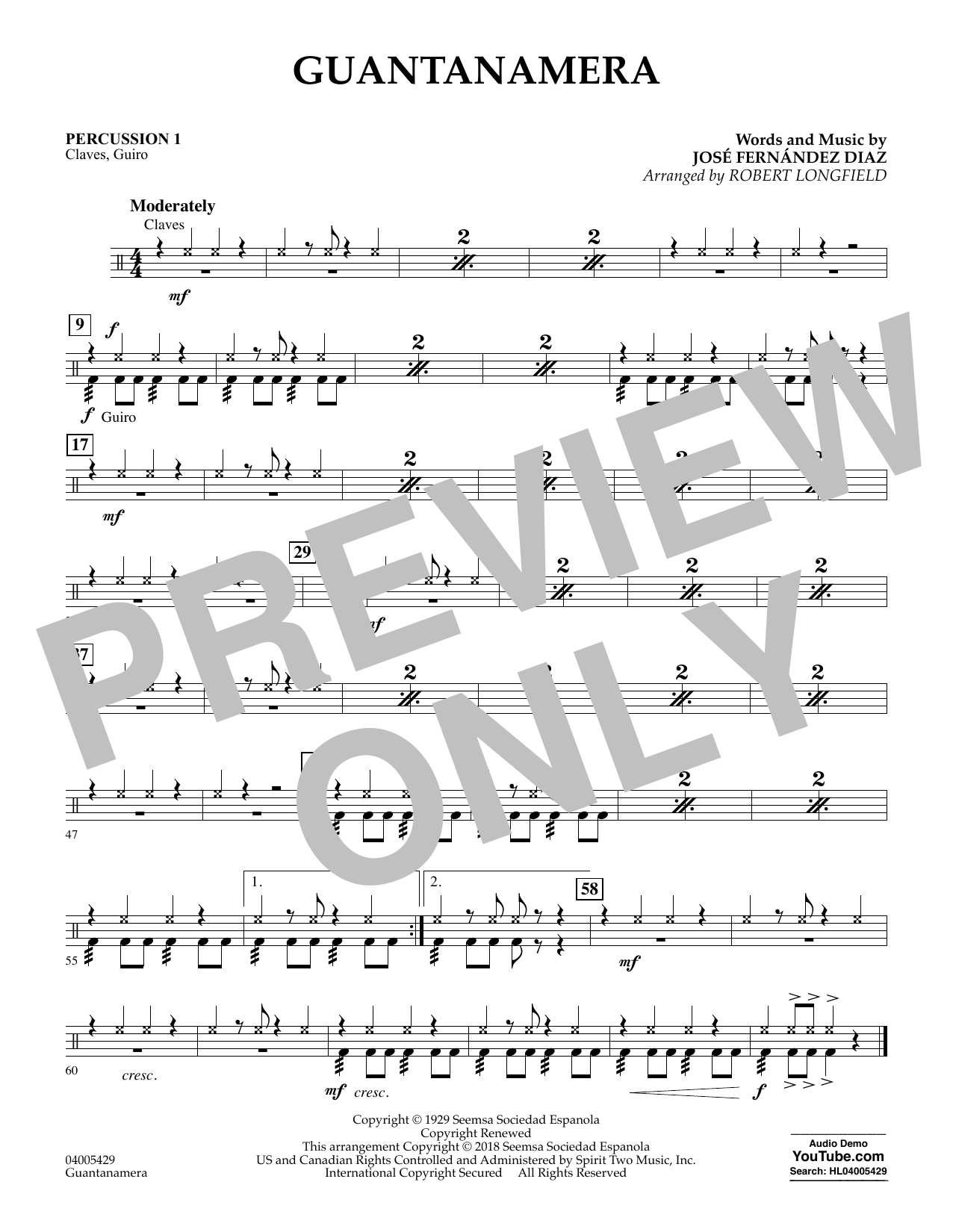 Guantanamera - Percussion 1 (Concert Band)