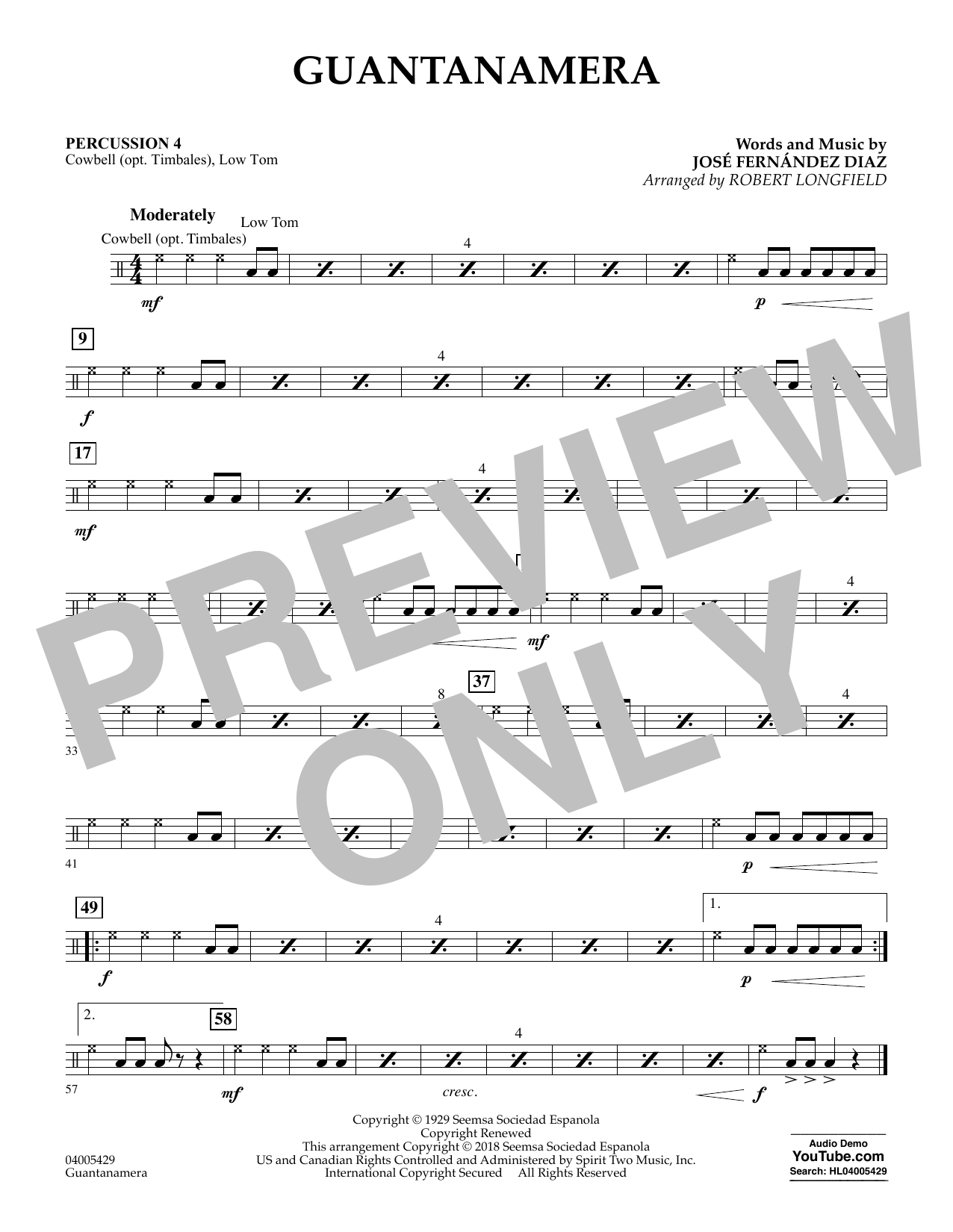 Guantanamera - Percussion 4 (Concert Band)