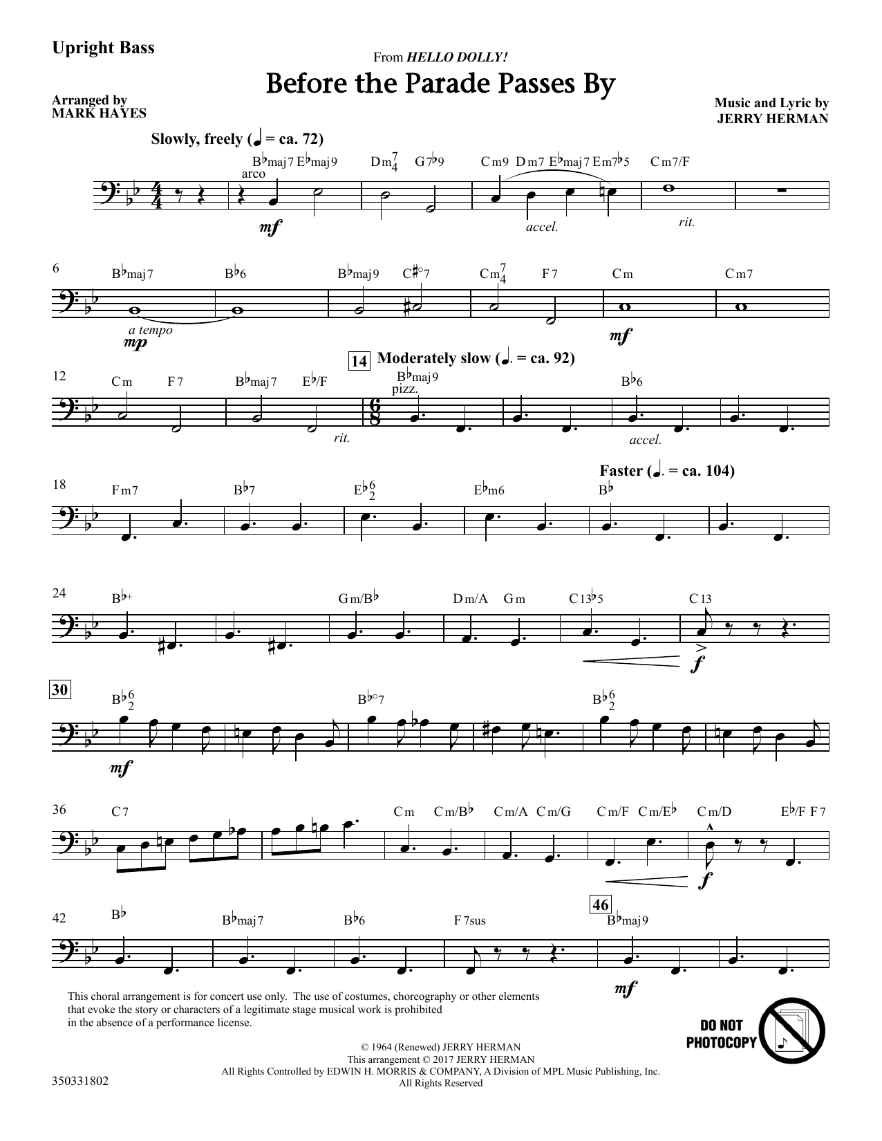 Before The Parade Passes By - Double Bass (Choir Instrumental Pak)