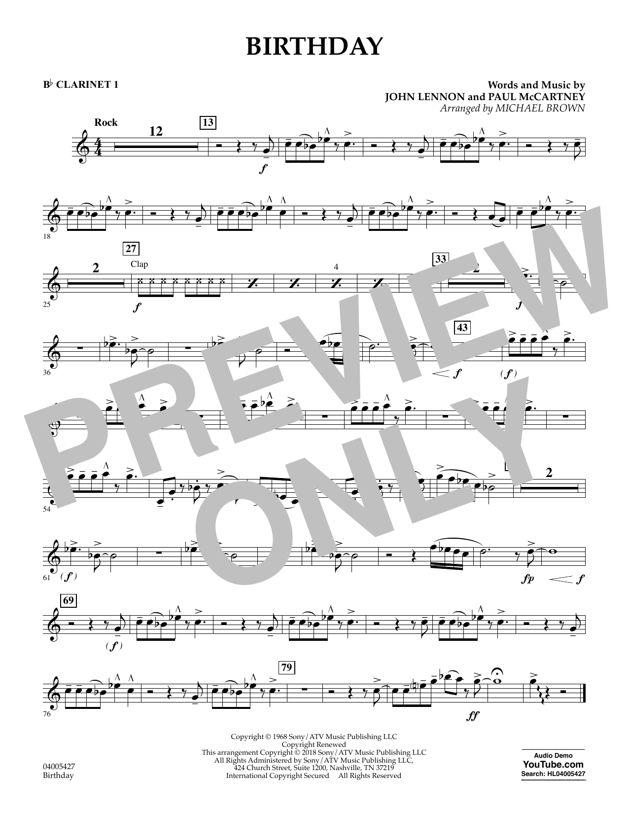 Birthday - Bb Clarinet 1 (Concert Band)