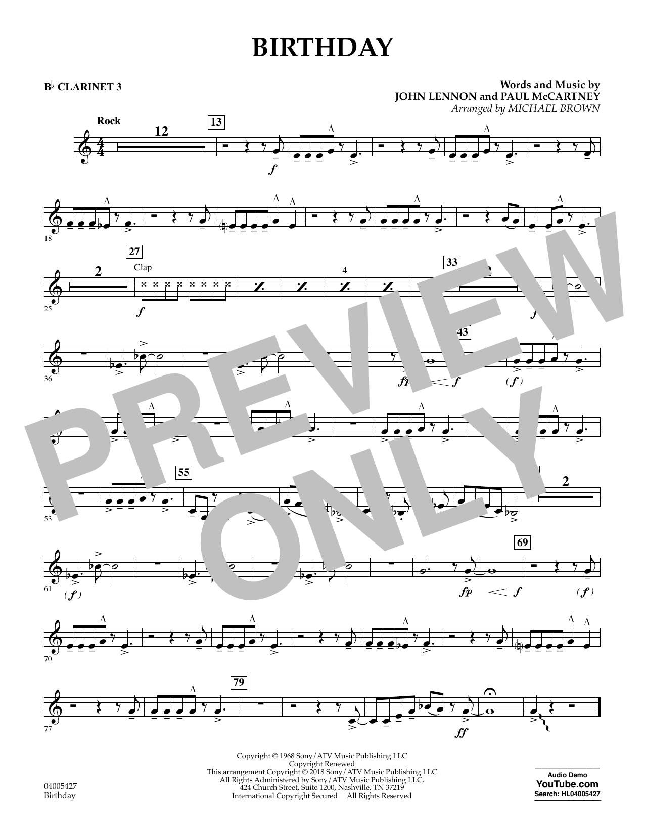 Birthday - Bb Clarinet 3 (Concert Band)