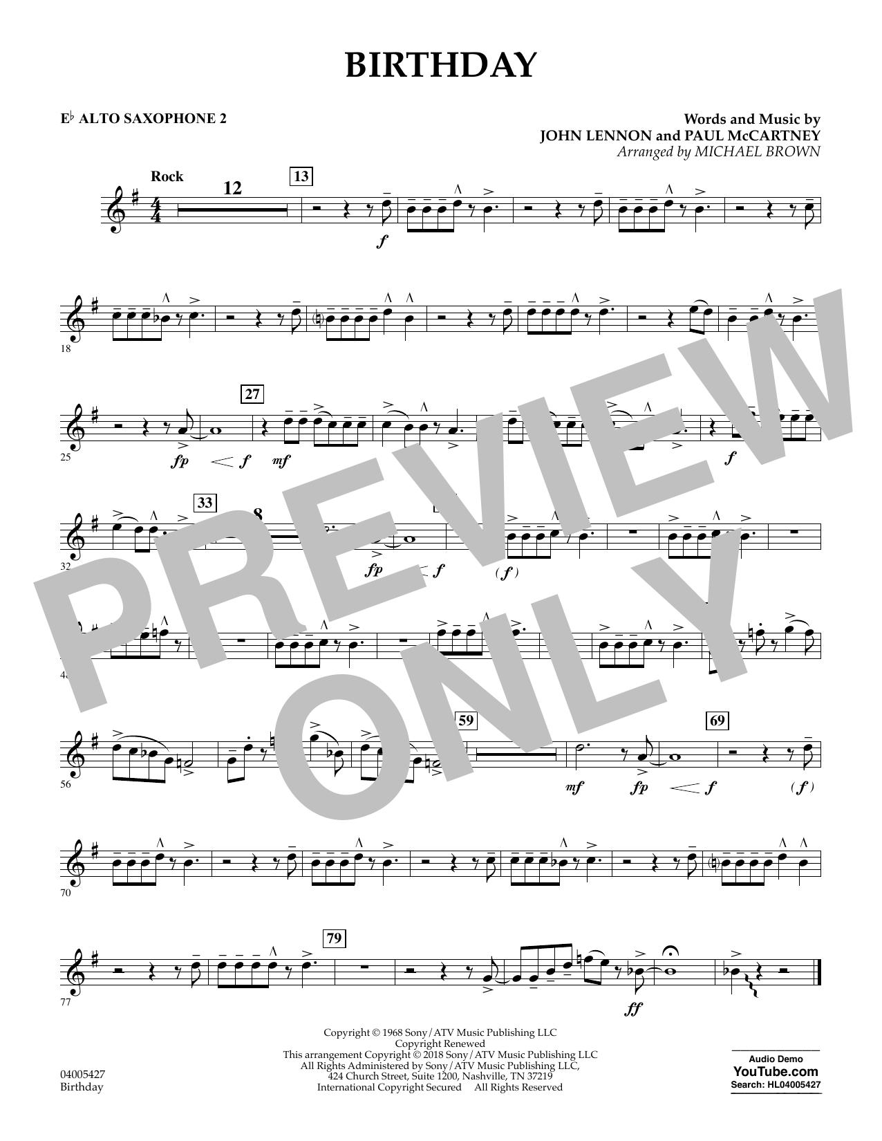 Birthday - Eb Alto Saxophone 2 (Concert Band)