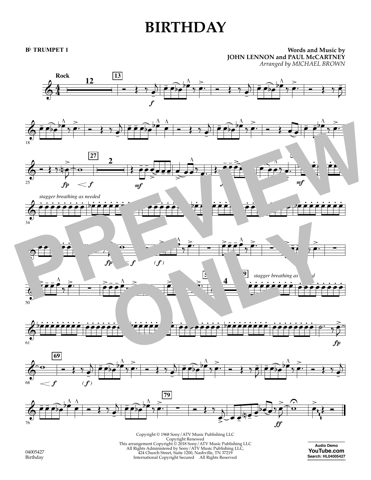 Birthday - Bb Trumpet 1 (Concert Band)