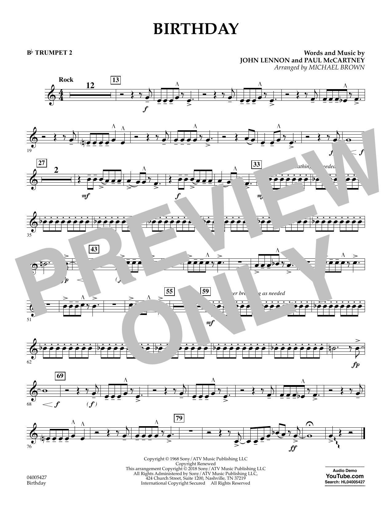 Birthday - Bb Trumpet 2 (Concert Band)
