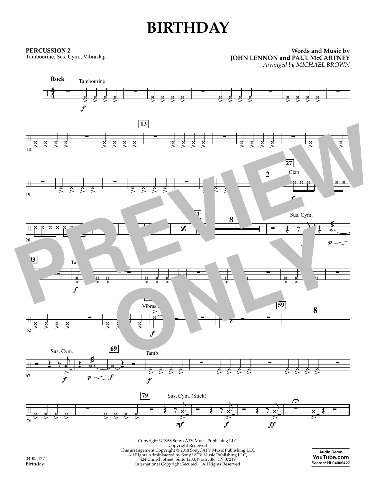 Birthday - Percussion 2 (Concert Band)