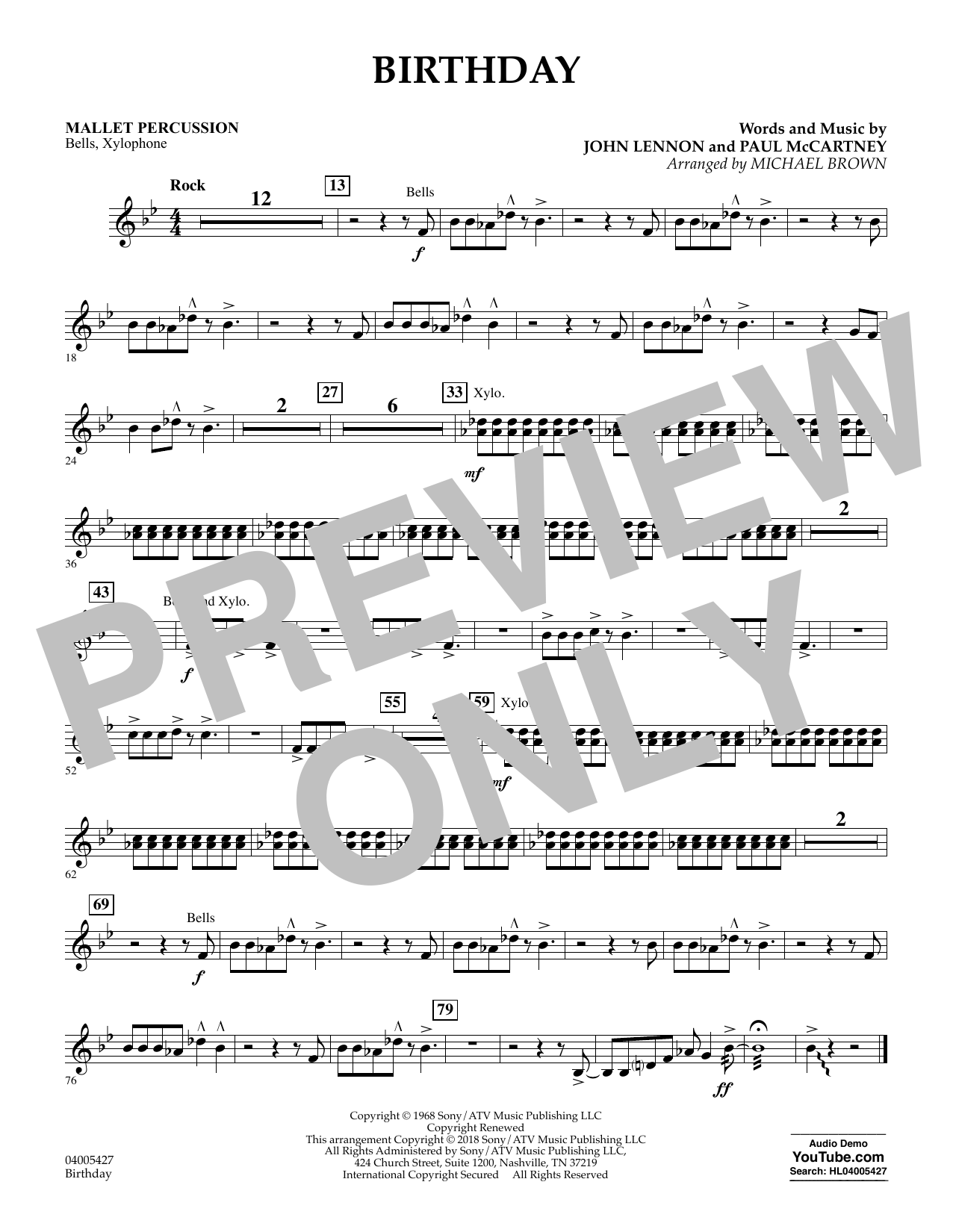 Birthday - Mallet Percussion (Concert Band)