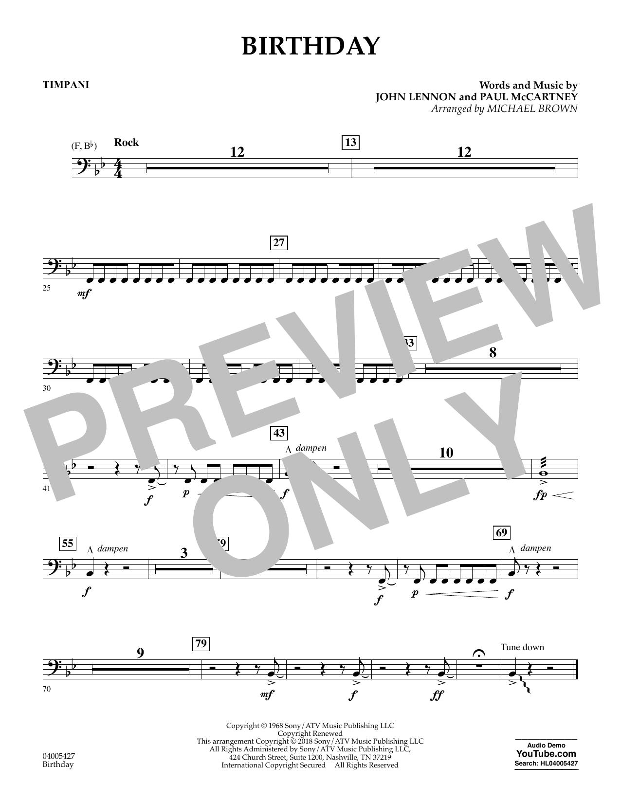 Birthday - Timpani (Concert Band)