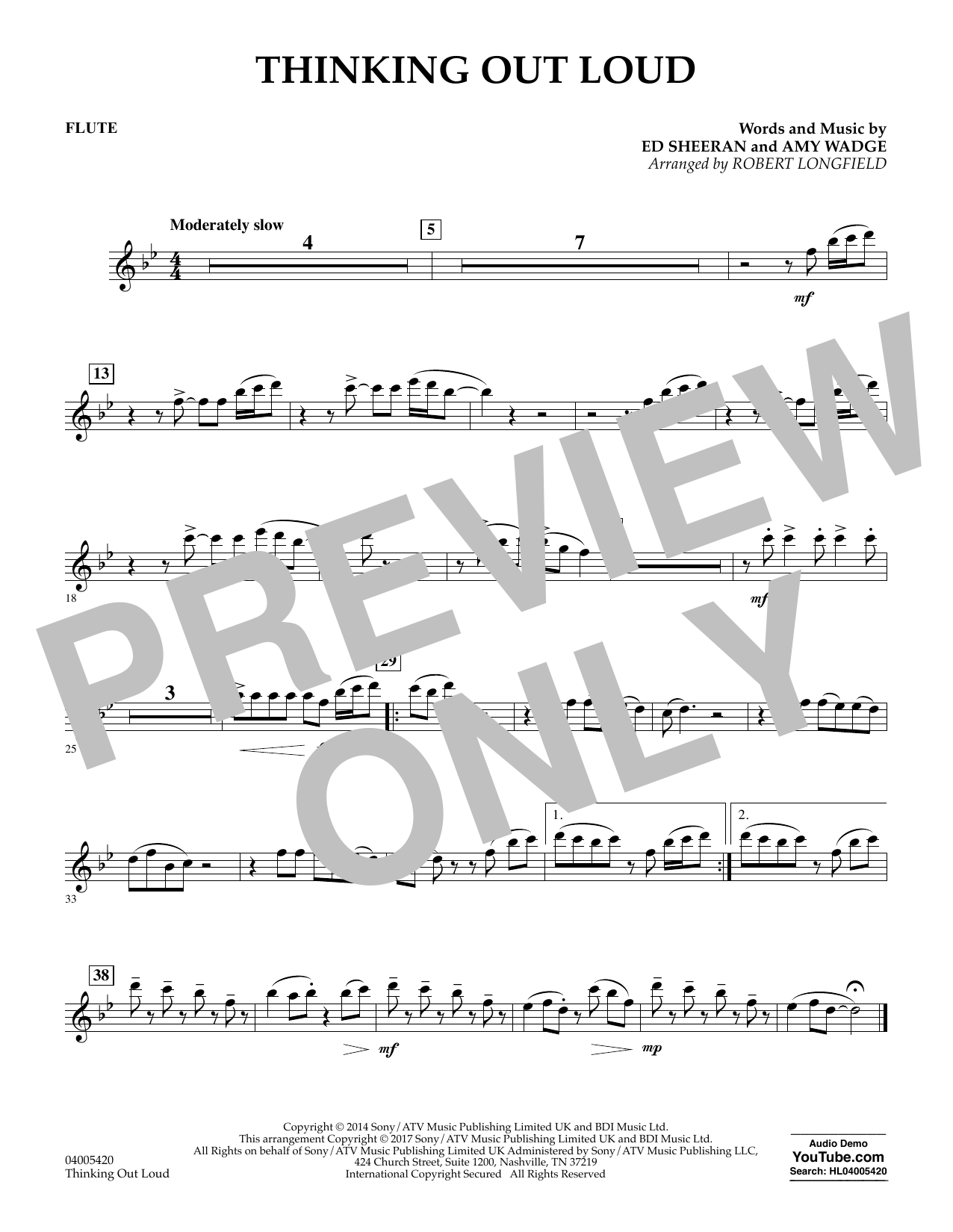 Thinking Out Loud - Flute (Concert Band)