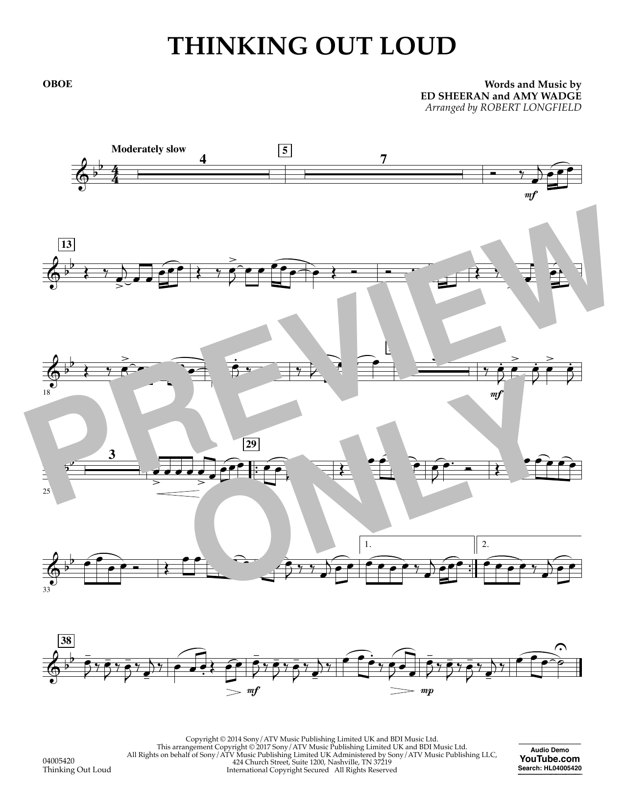 Thinking Out Loud - Oboe (Concert Band)