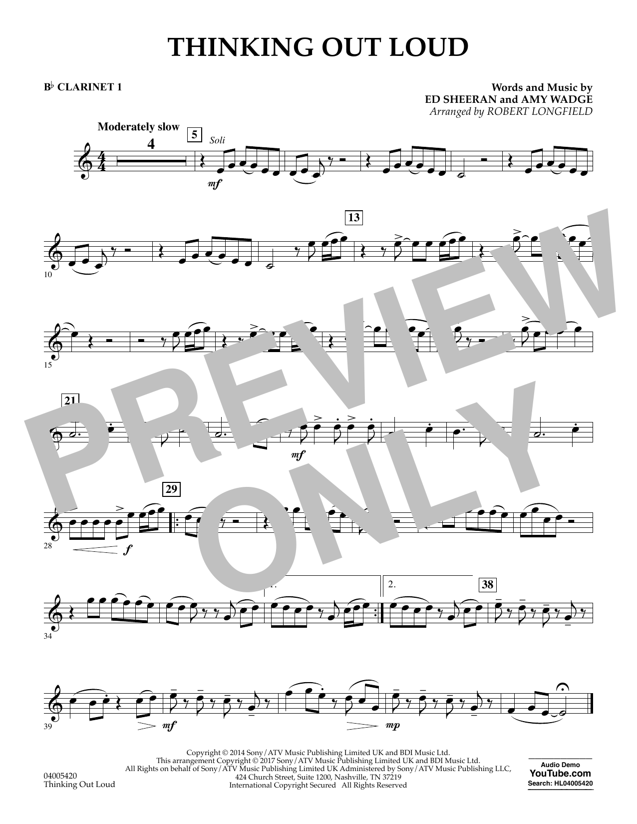 Thinking Out Loud - Bb Clarinet 1 (Concert Band)