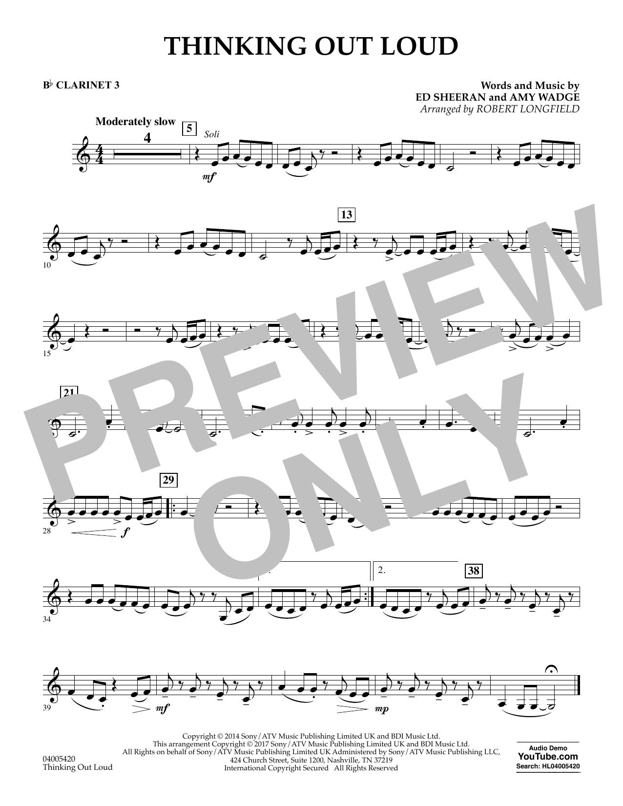 Thinking Out Loud - Bb Clarinet 3 (Concert Band)