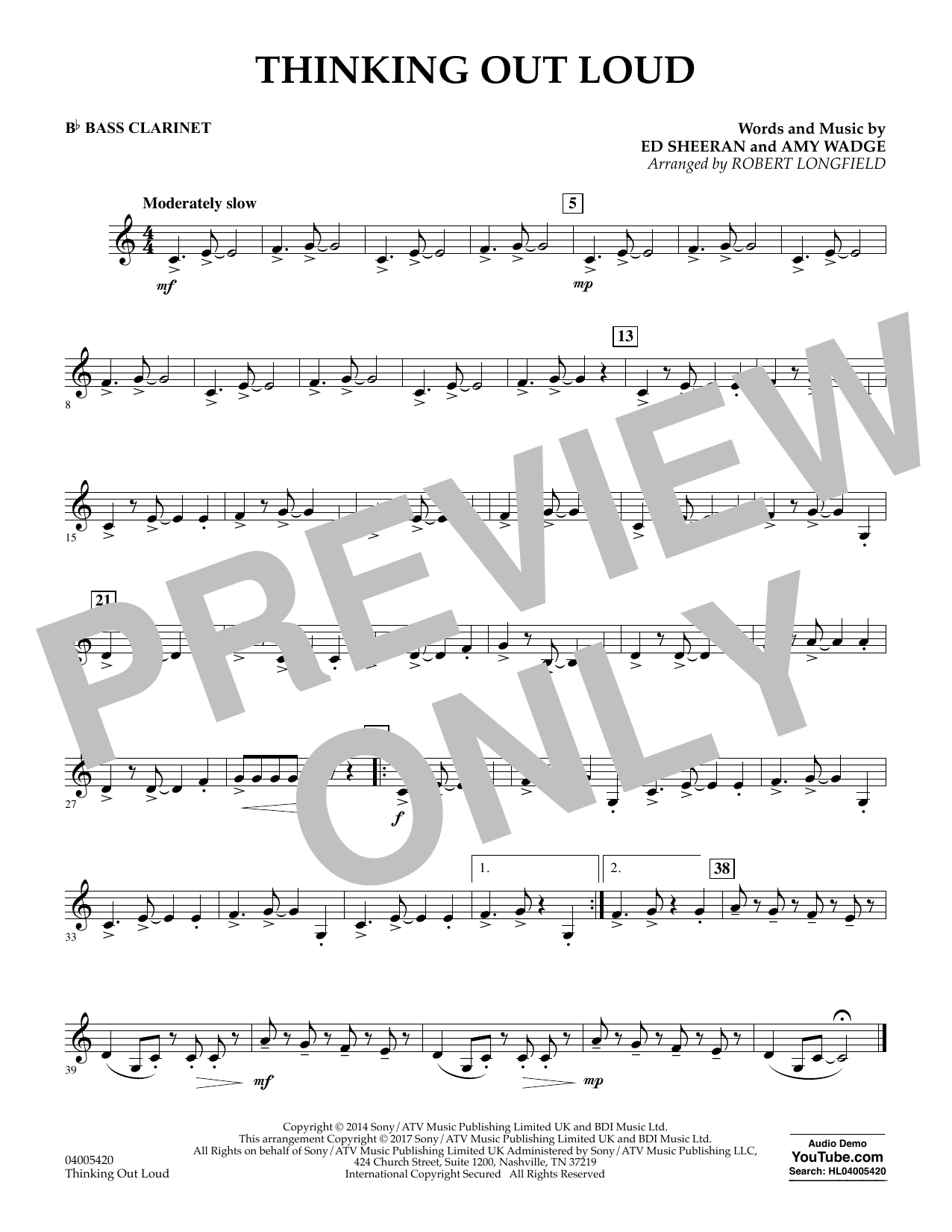 Thinking Out Loud - Bb Bass Clarinet (Concert Band)