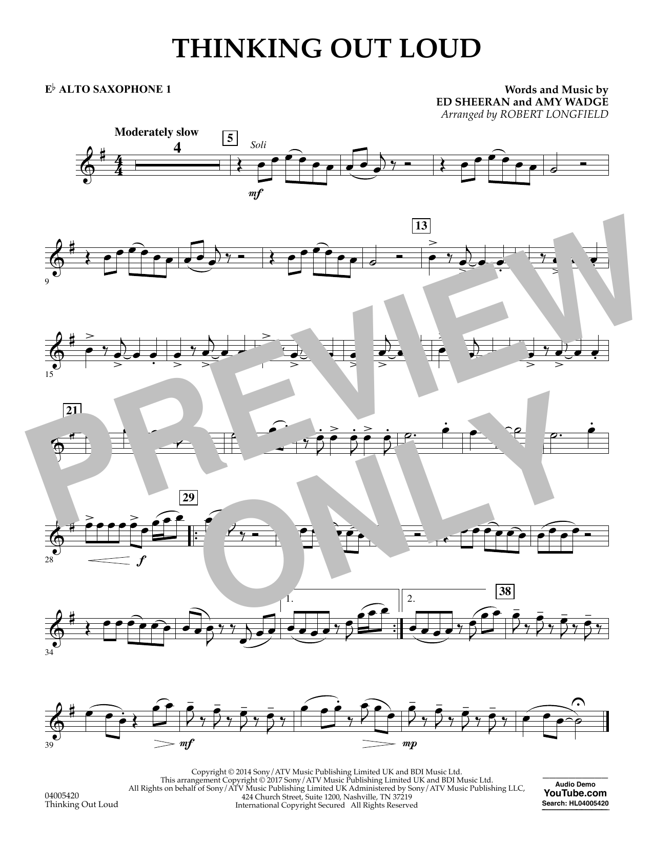 Thinking Out Loud - Eb Alto Saxophone 1 (Concert Band)