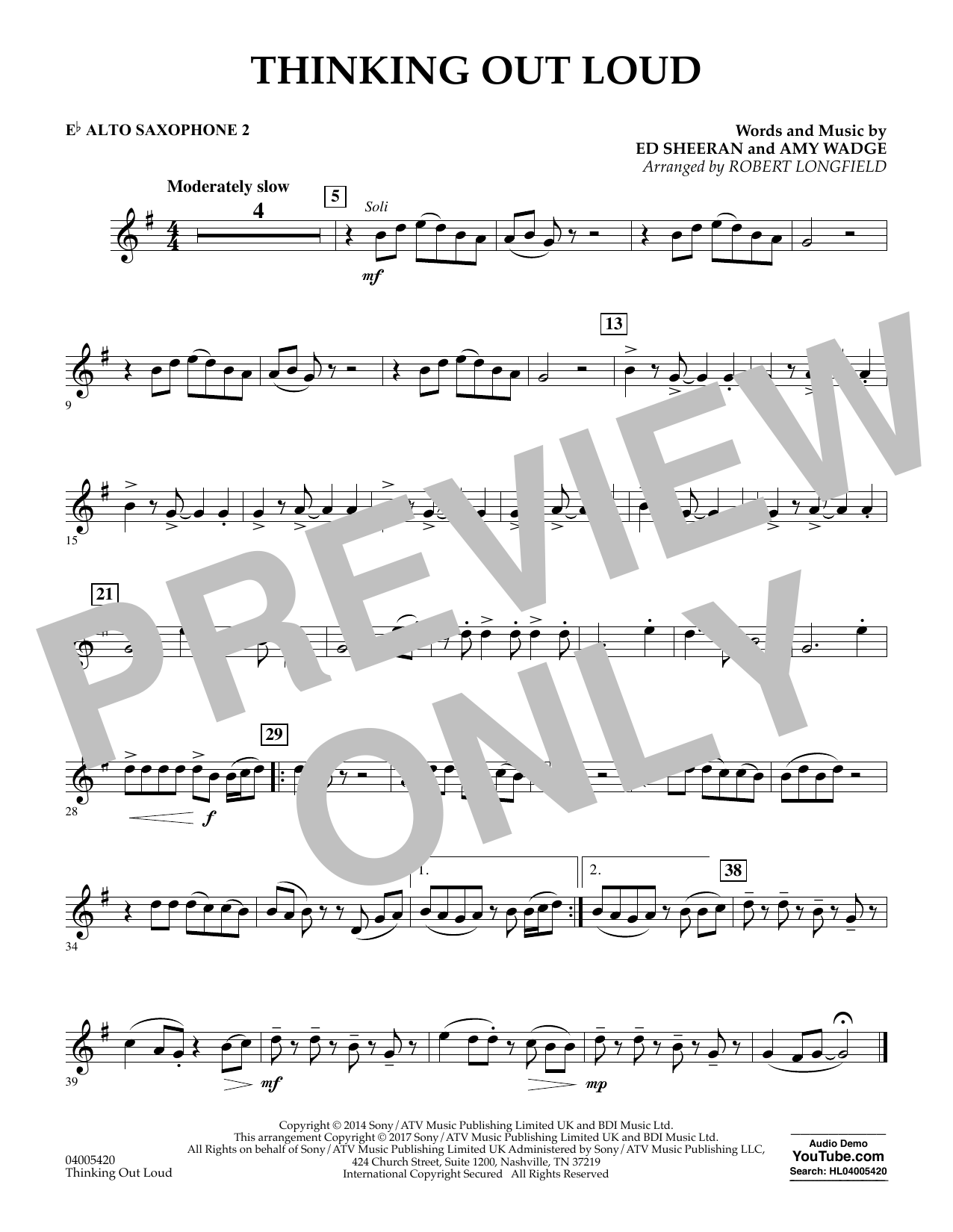 Thinking Out Loud - Eb Alto Saxophone 2 (Concert Band)