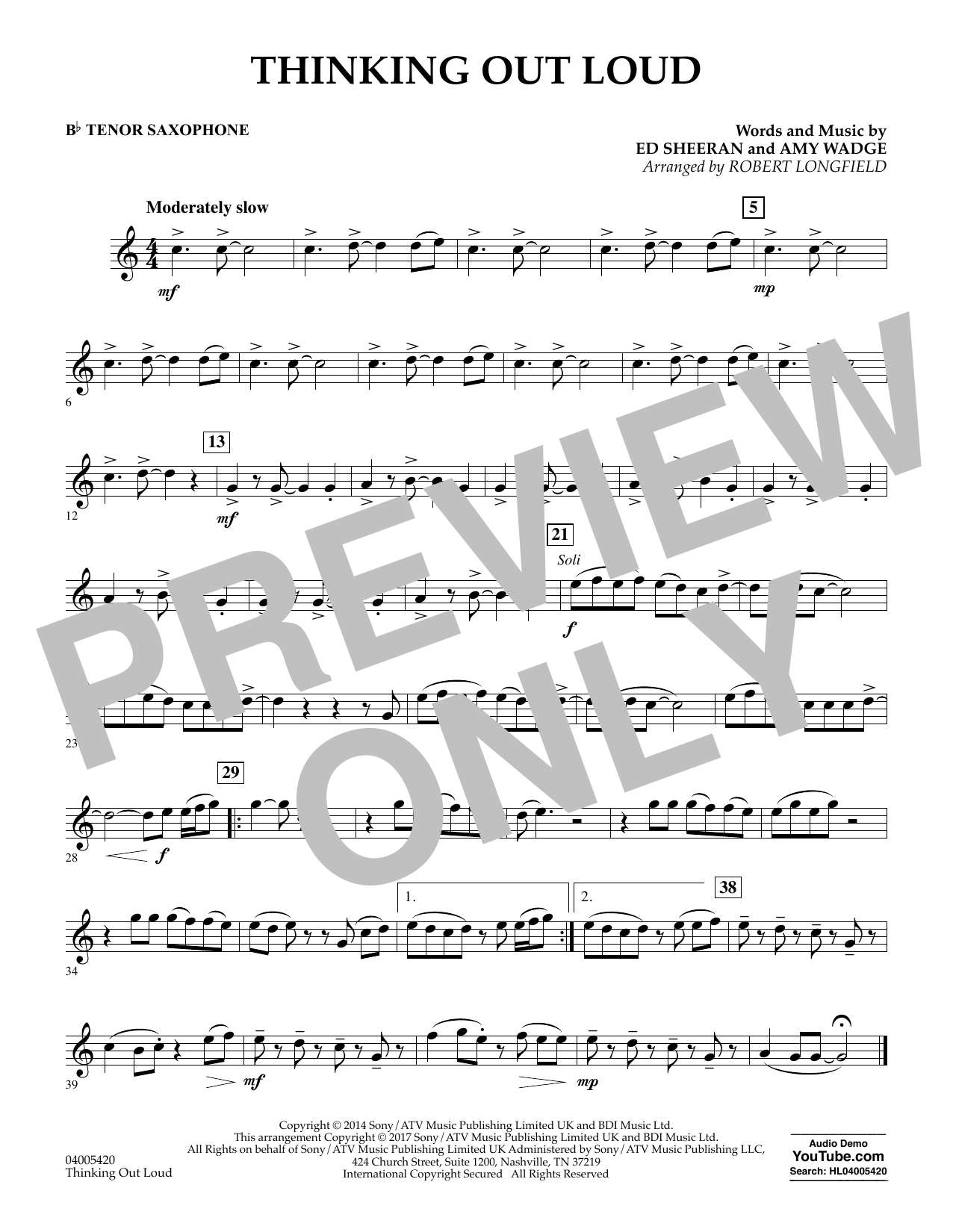 Thinking Out Loud - Bb Tenor Saxophone (Concert Band)