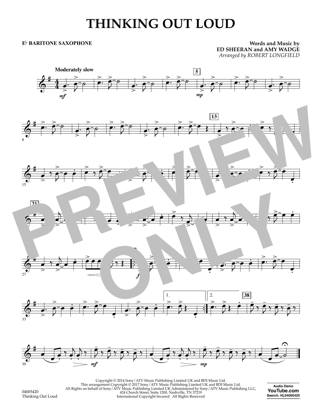 Thinking Out Loud - Eb Baritone Saxophone (Concert Band)