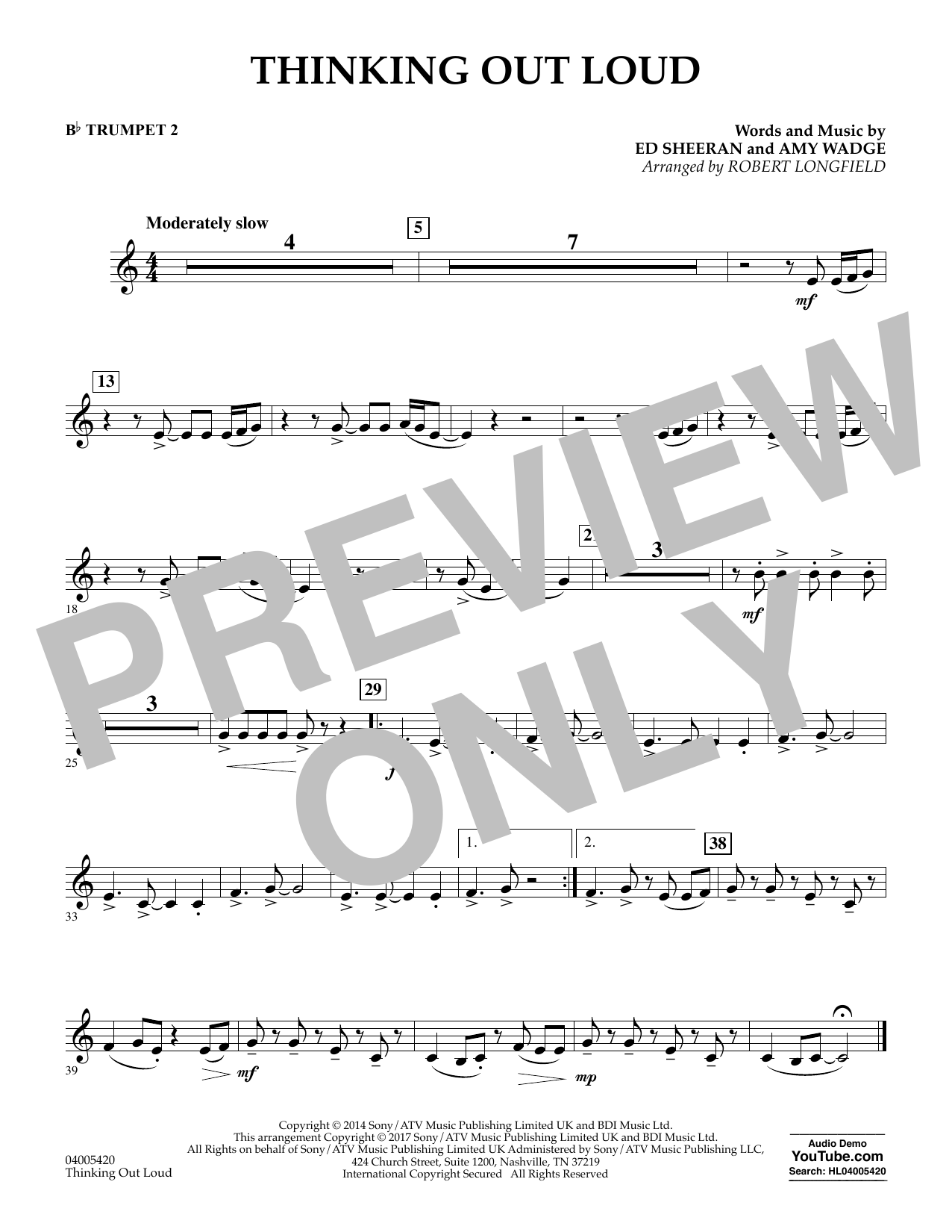 Thinking Out Loud - Bb Trumpet 2 (Concert Band)