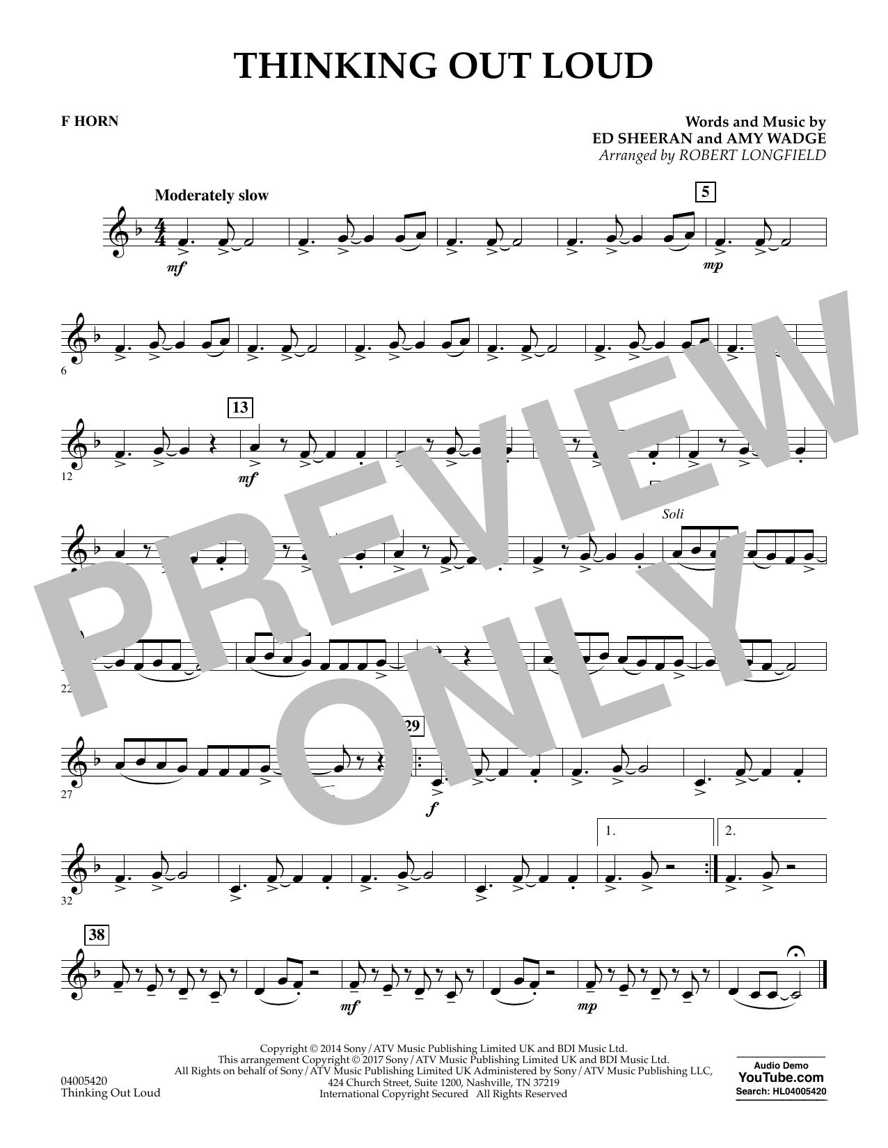 Partition autre Thinking Out Loud - F Horn de Robert Longfield - Orchestre d'harmonie