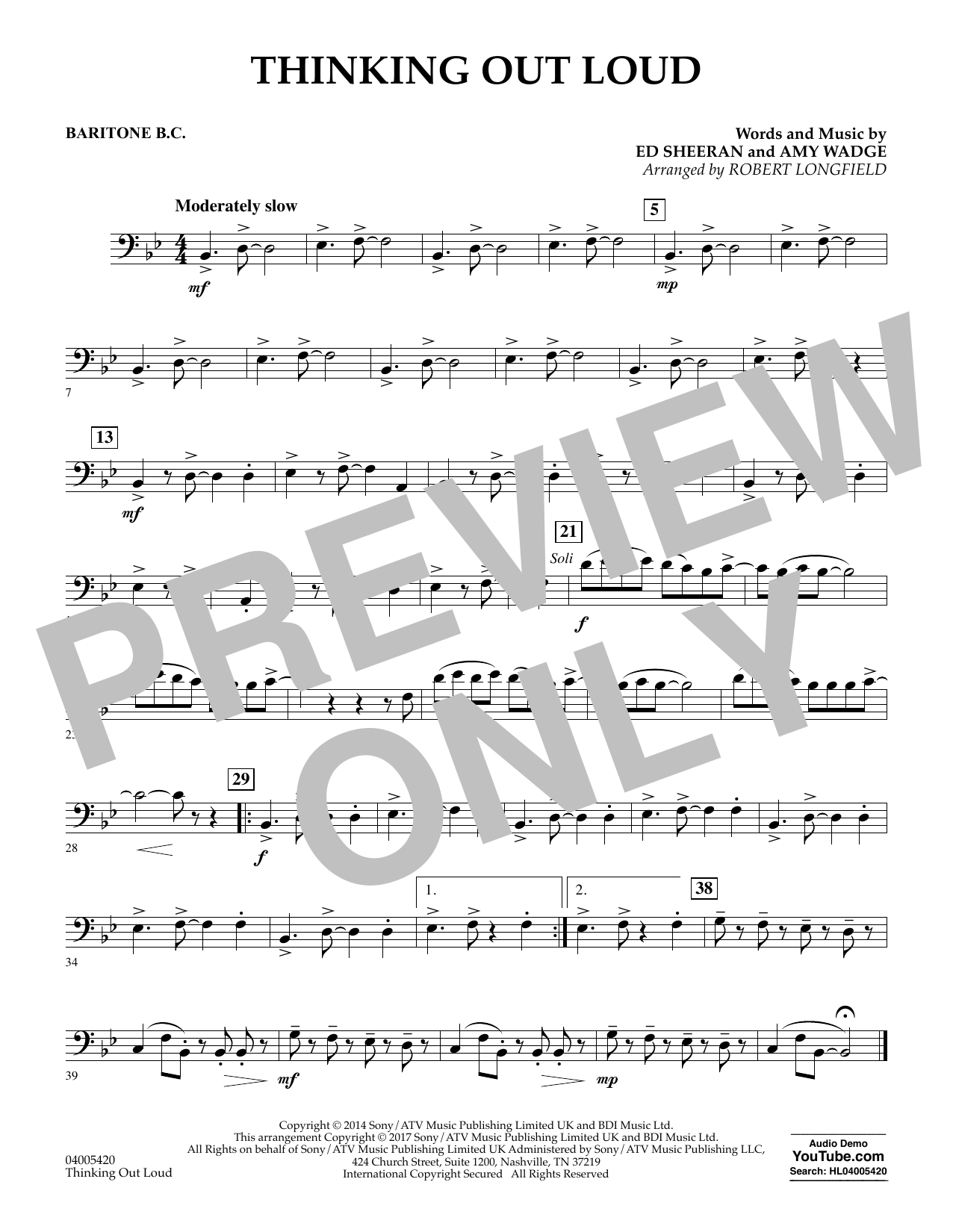 Thinking Out Loud - Baritone B.C. (Concert Band)