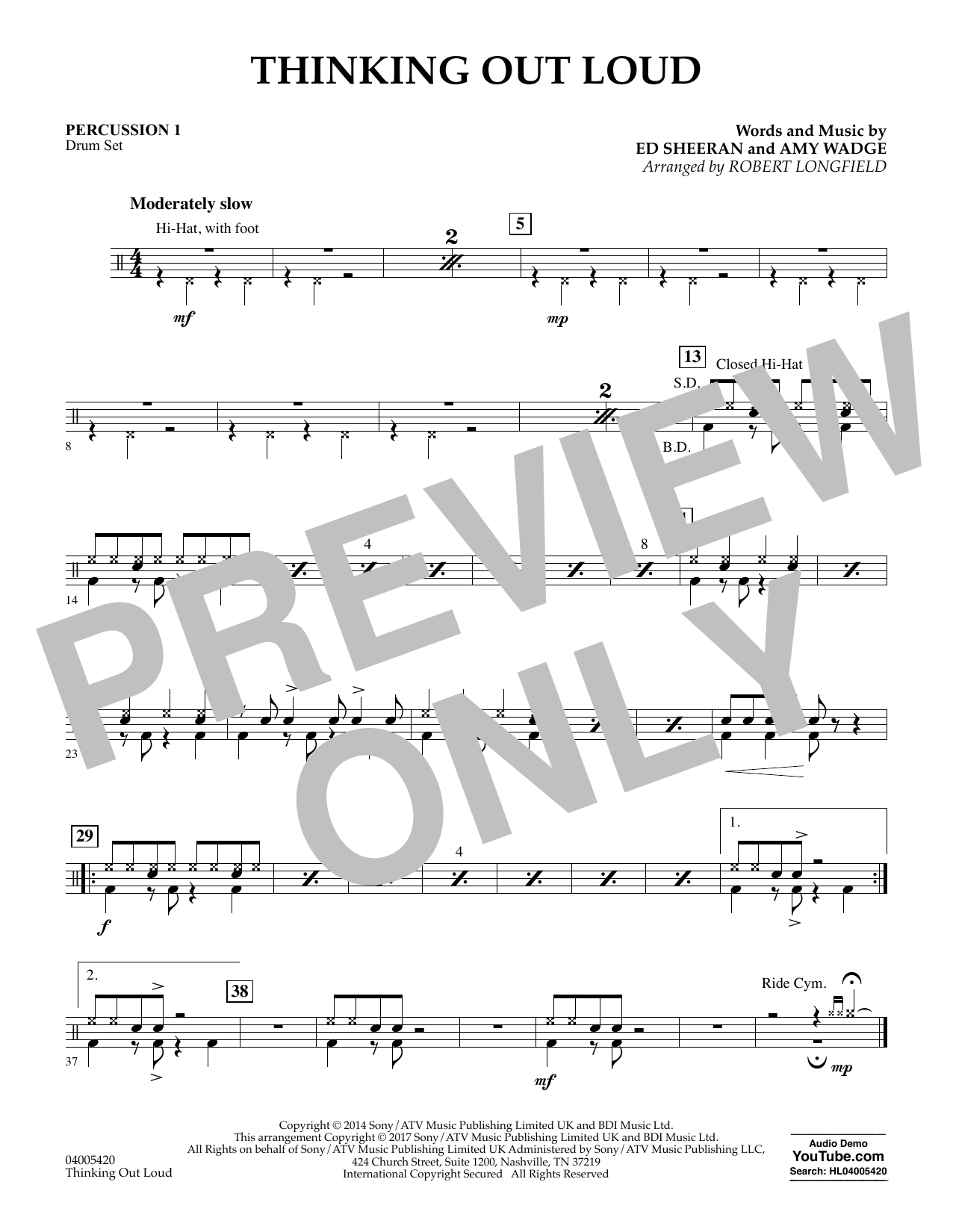 Thinking Out Loud - Percussion 1 (Concert Band)