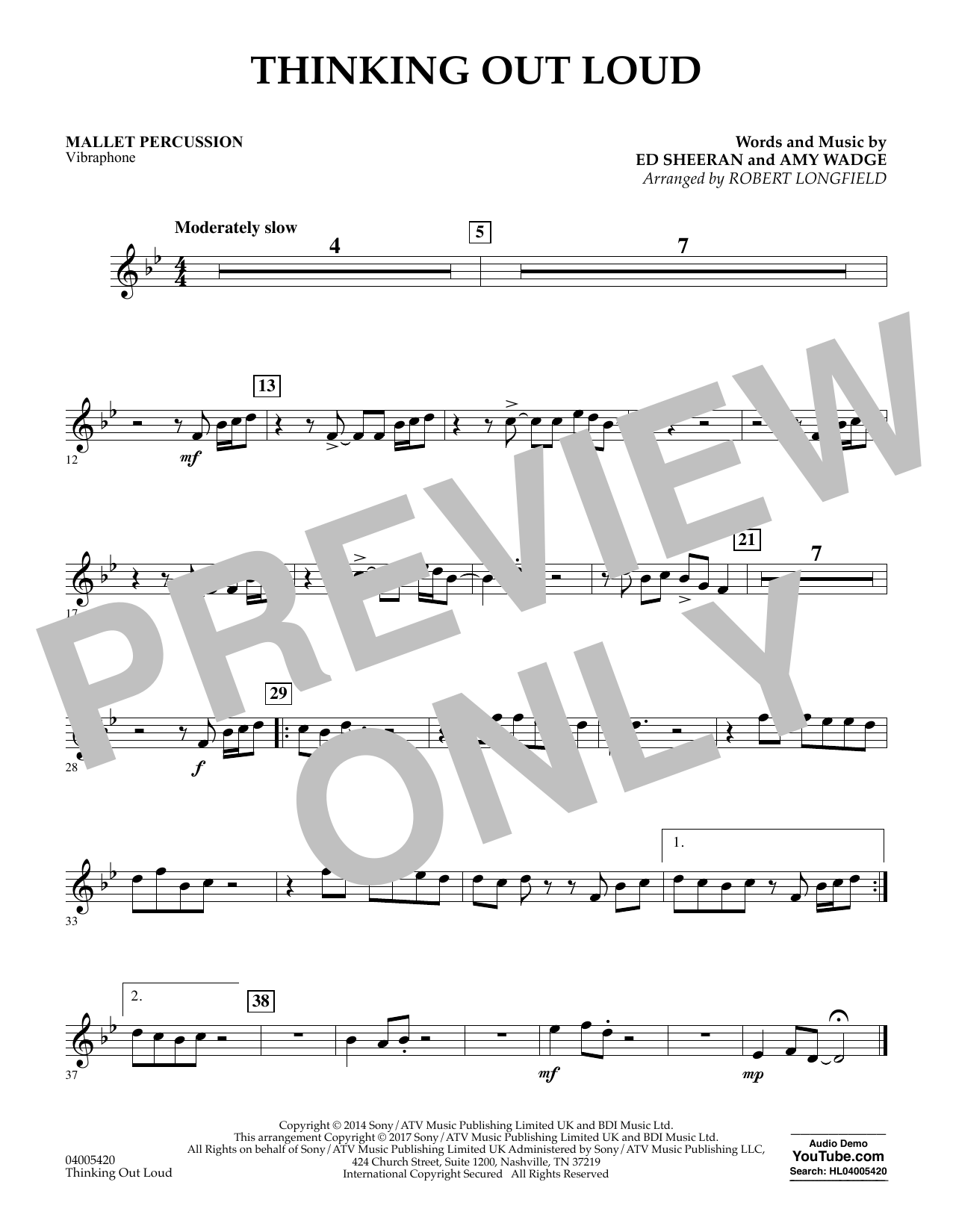 Thinking Out Loud - Mallet Percussion (Concert Band)