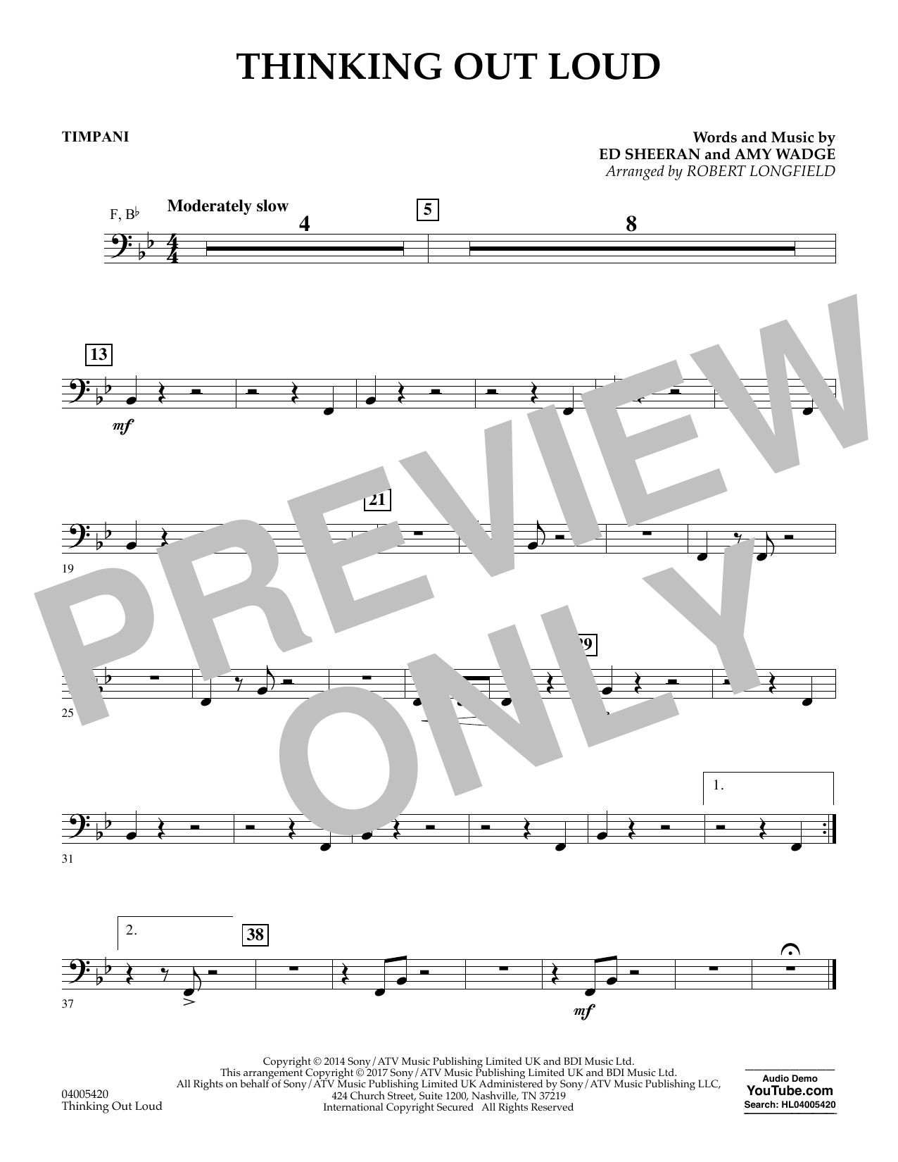 Thinking Out Loud - Timpani (Concert Band)