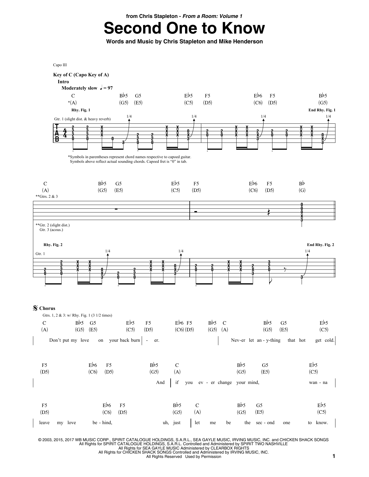 Second One To Know Sheet Music