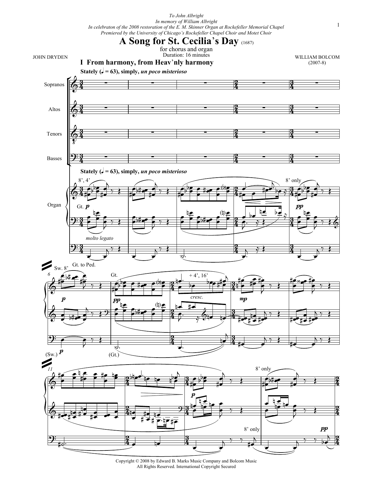 A Song For St. Cecilia's Day Sheet Music