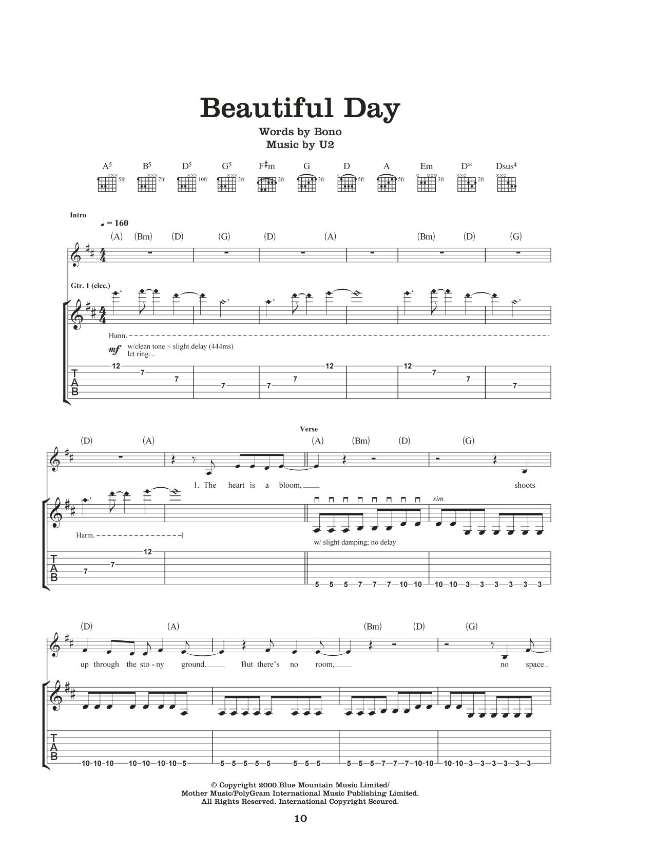Beautiful Day By U2 Guitar Tab Guitar Instructor