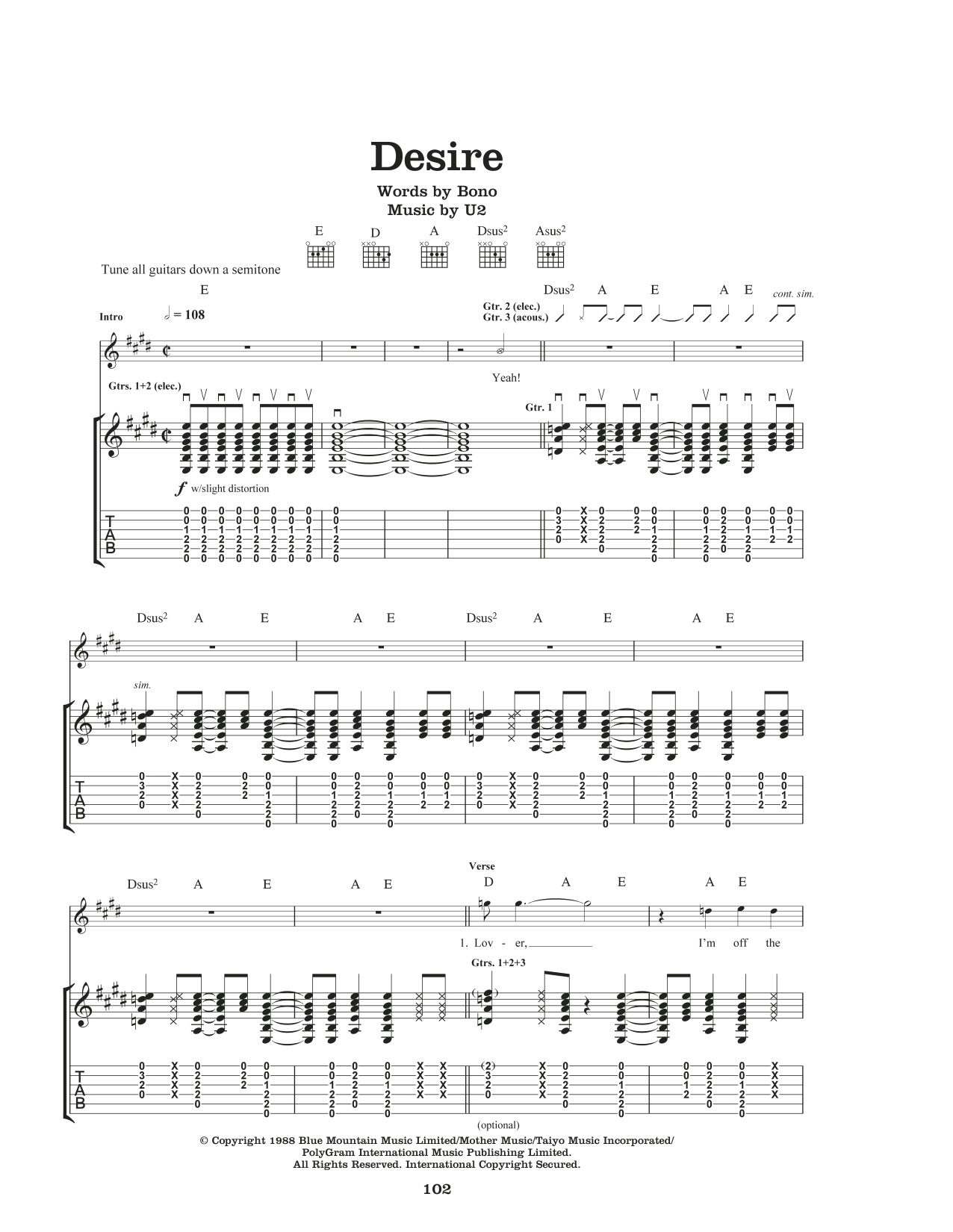 Desire by U2 Piano, Vocal & Guitar (Right-Hand Melody) Digital Sheet Music