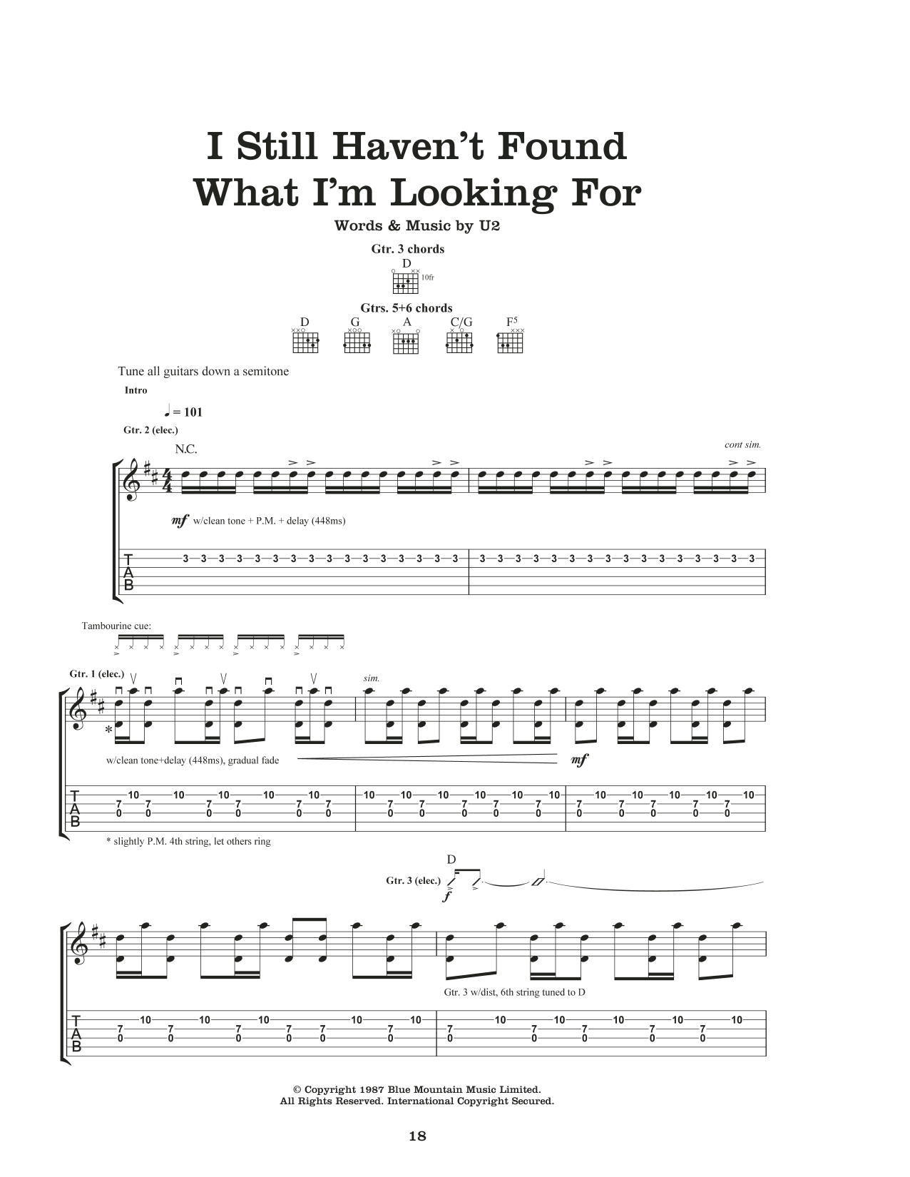I Still Haven't Found What I'm Looking For Sheet Music