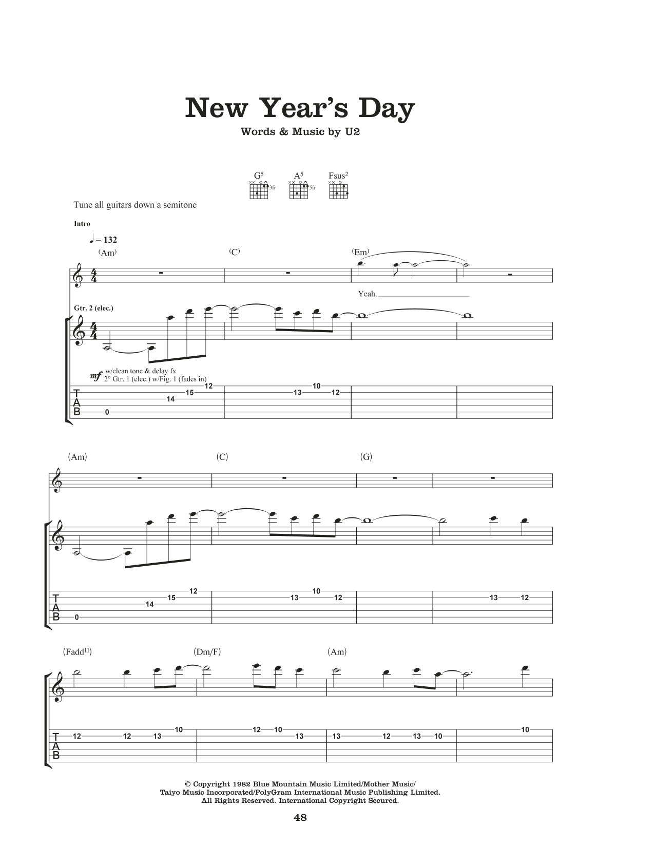 New Year's Day Sheet Music