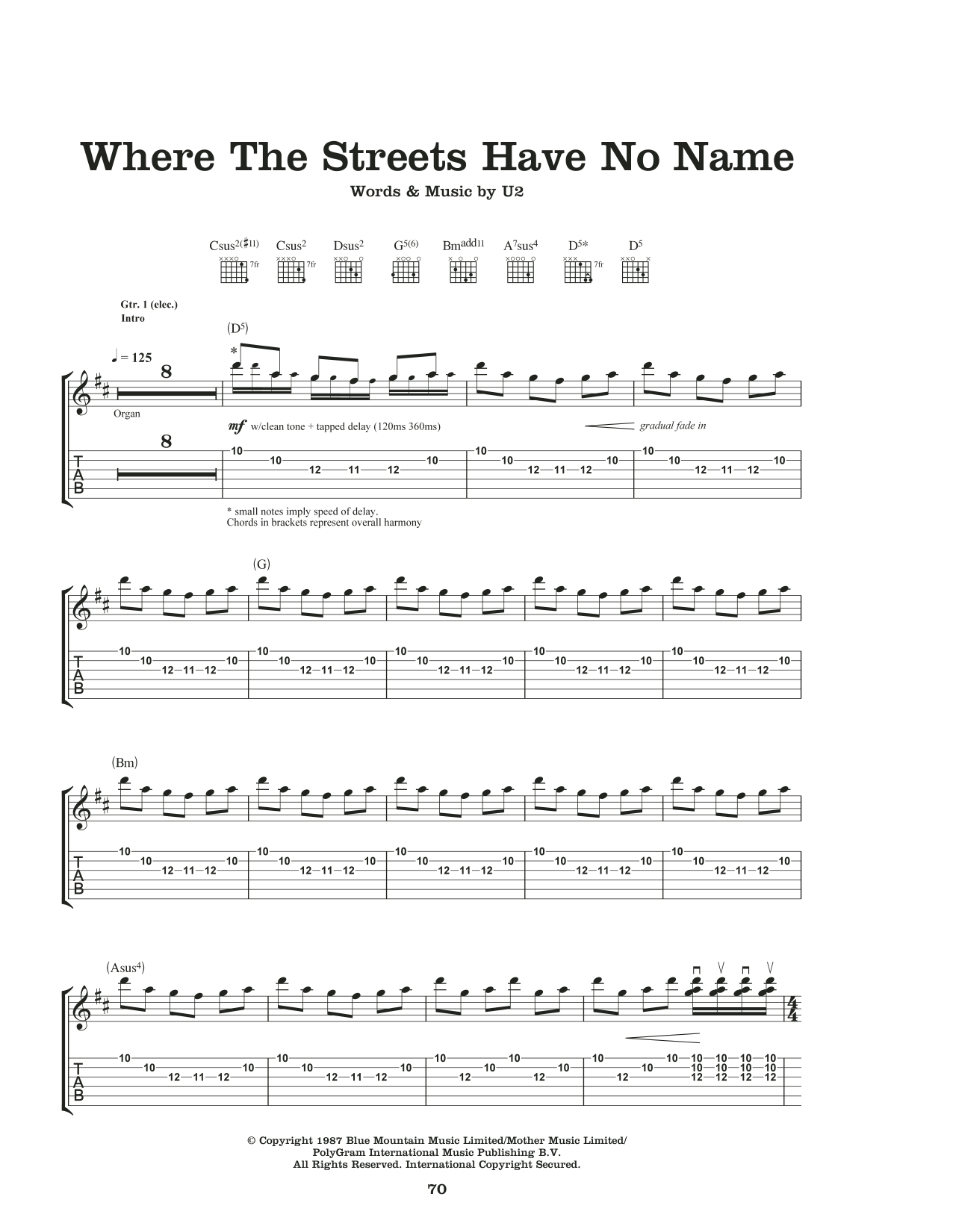 Where The Streets Have No Name Sheet Music